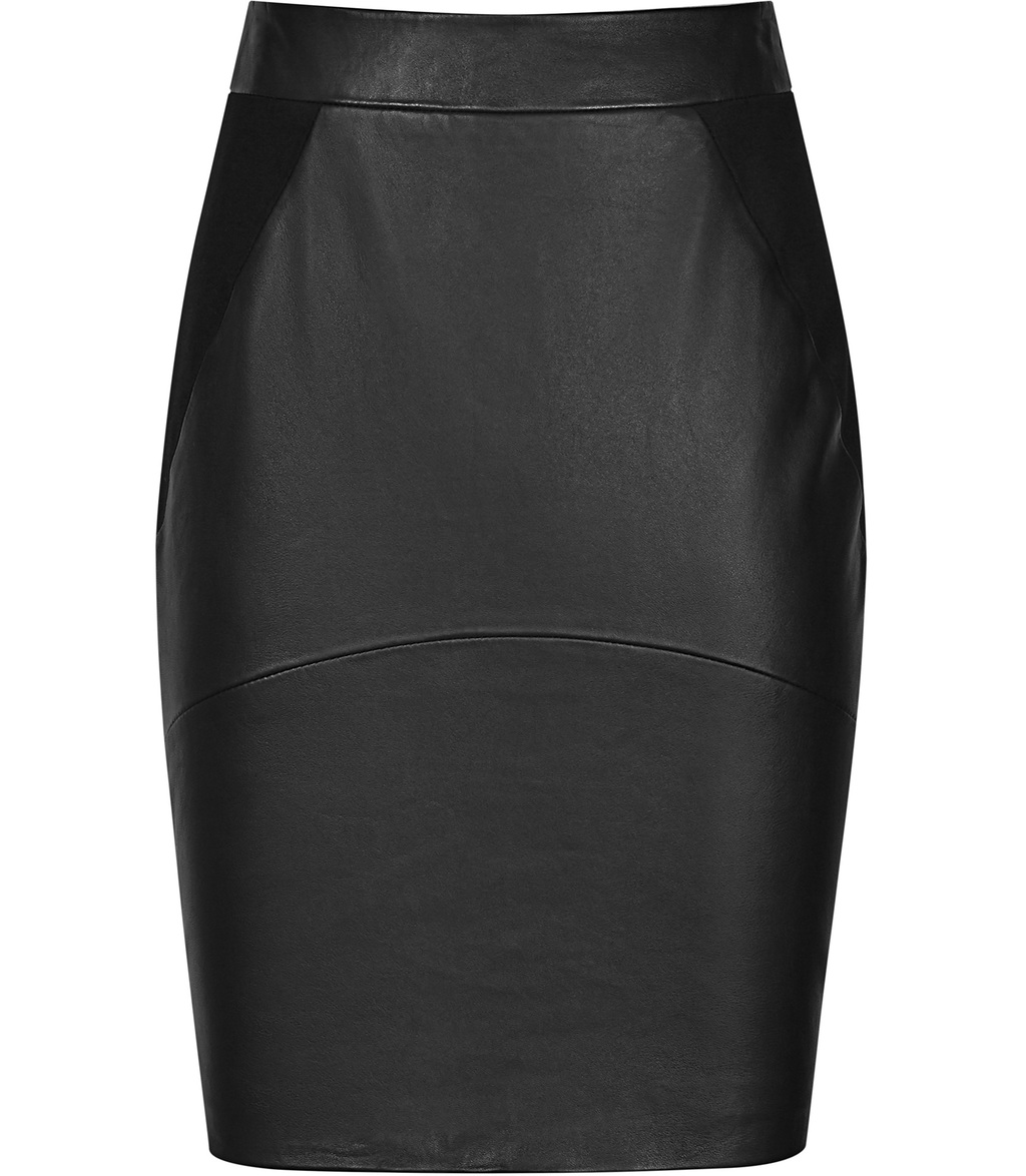 Clarisse Womens Leather Mix Skirt In Black - pattern: plain; style: pencil; fit: tailored/fitted; waist: high rise; predominant colour: black; occasions: evening, creative work; length: just above the knee; texture group: leather; pattern type: fabric; fibres: cashmere - stretch; season: s/s 2016; wardrobe: highlight