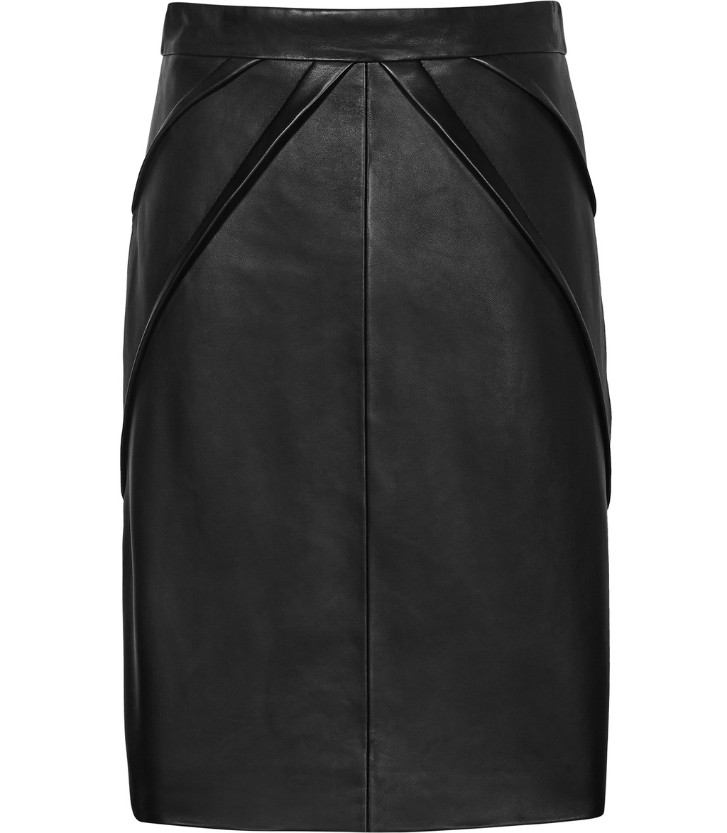 Etianne Womens Leather Pencil Skirt In Black - pattern: plain; style: pencil; fit: tailored/fitted; waist: mid/regular rise; predominant colour: black; occasions: casual, evening, creative work; length: just above the knee; fibres: leather - 100%; texture group: leather; pattern type: fabric; season: s/s 2016; wardrobe: highlight