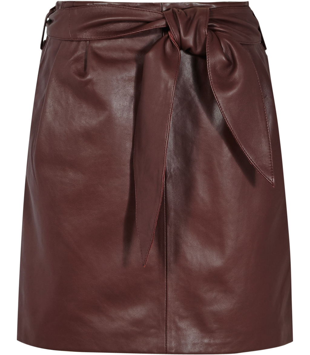Leonie Womens Belted Leather Mini Skirt In Red - length: mini; pattern: plain; waist: high rise; waist detail: belted waist/tie at waist/drawstring; predominant colour: burgundy; occasions: casual, creative work; style: mini skirt; fibres: leather - 100%; texture group: leather; fit: straight cut; pattern type: fabric; season: s/s 2016
