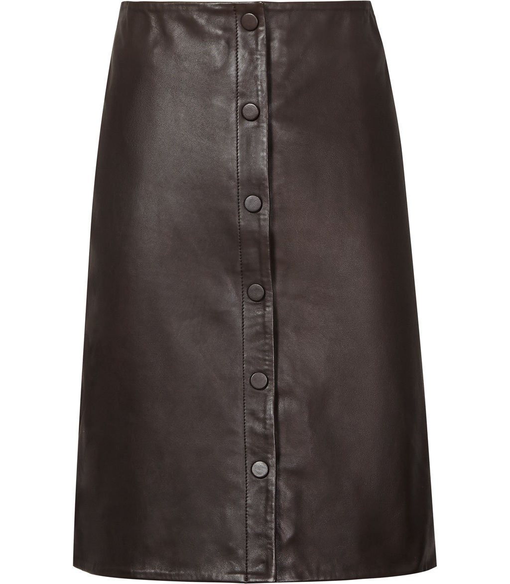 Penelope Womens Button Front Leather Skirt In Grey - pattern: plain; style: straight; waist: mid/regular rise; predominant colour: charcoal; occasions: evening; length: on the knee; fibres: leather - 100%; texture group: leather; fit: straight cut; pattern type: fabric; season: s/s 2016; wardrobe: event