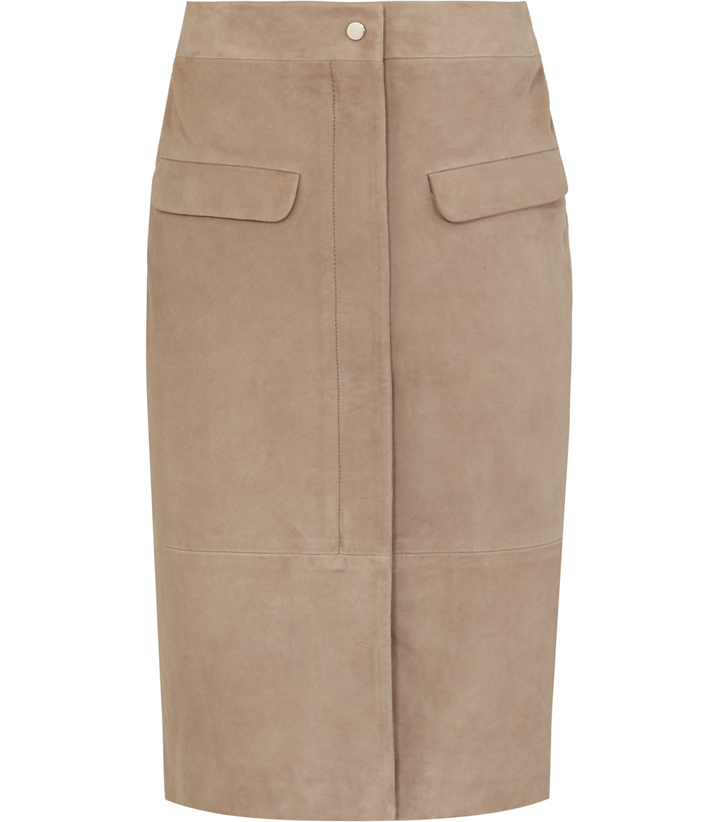 Raine Womens Suede Pencil Skirt In White - pattern: plain; style: pencil; fit: body skimming; waist: mid/regular rise; predominant colour: taupe; occasions: evening; length: on the knee; fibres: leather - 100%; pattern type: fabric; texture group: suede; season: s/s 2016