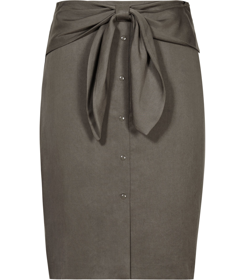 Dakota Womens Bow Detail Skirt In Green - pattern: plain; style: pencil; fit: body skimming; waist detail: belted waist/tie at waist/drawstring; waist: mid/regular rise; predominant colour: charcoal; occasions: evening; length: just above the knee; fibres: viscose/rayon - 100%; pattern type: fabric; texture group: woven light midweight; season: s/s 2016; wardrobe: event