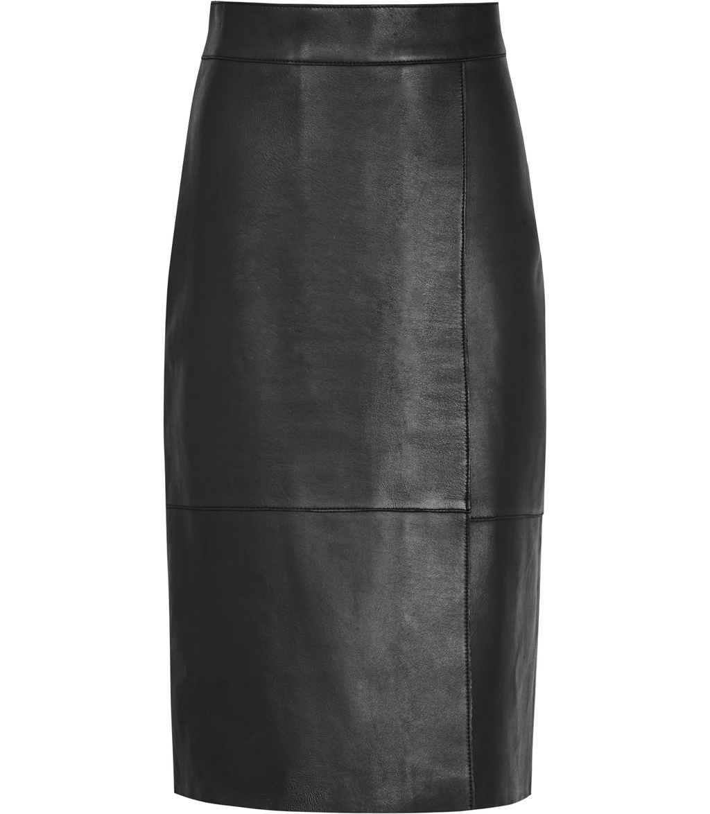 Feather Womens Bonded Leather Skirt In Black - pattern: plain; style: pencil; fit: body skimming; waist: mid/regular rise; predominant colour: black; occasions: evening; length: on the knee; fibres: leather - 100%; texture group: leather; pattern type: fabric; season: s/s 2016