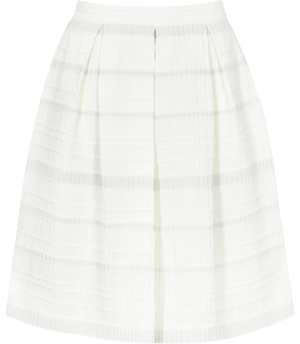 Dolly Womens Box Pleat Skirt In White - fit: loose/voluminous; style: pleated; waist: high rise; predominant colour: white; occasions: casual, creative work; length: just above the knee; fibres: polyester/polyamide - stretch; hip detail: adds bulk at the hips; pattern type: fabric; texture group: other - light to midweight; pattern size: standard (bottom); pattern: horizontal stripes (bottom); season: s/s 2016; wardrobe: highlight