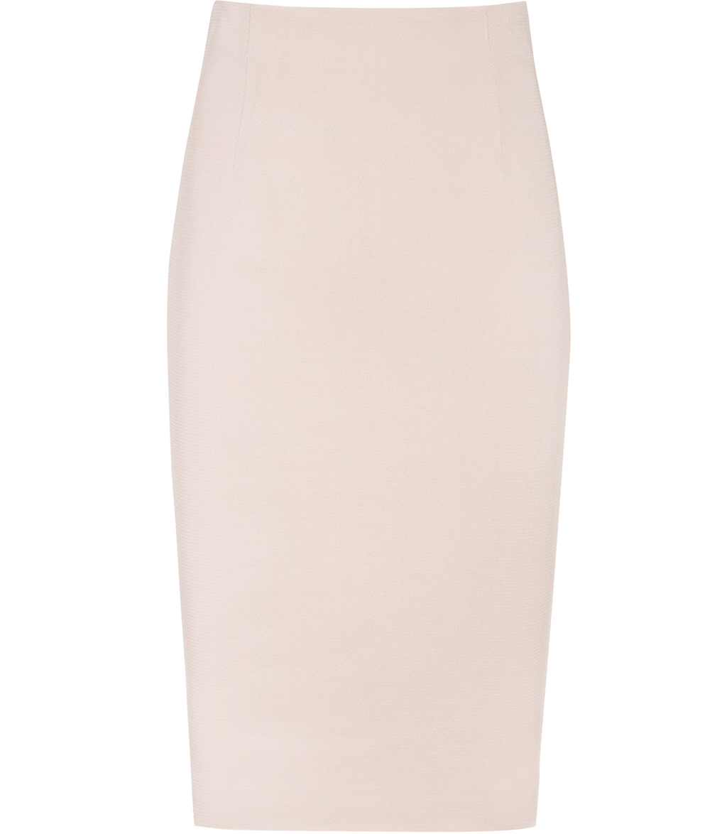 Lisa Skirt Womens Pencil Skirt In Red - pattern: plain; style: pencil; fit: tailored/fitted; waist: mid/regular rise; predominant colour: blush; occasions: work, occasion; length: on the knee; fibres: viscose/rayon - 100%; pattern type: fabric; texture group: other - light to midweight; season: s/s 2016