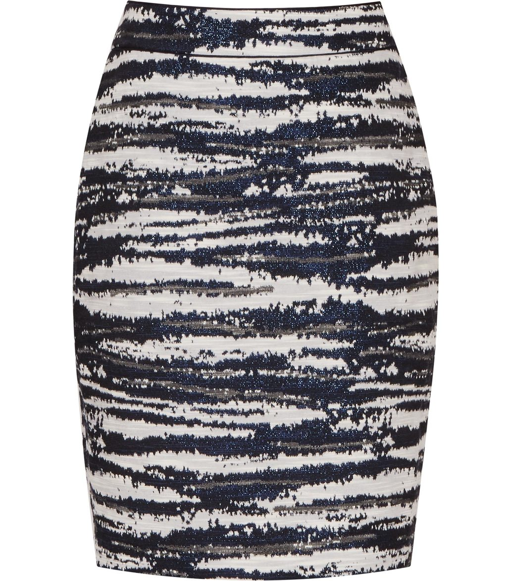 Odell Womens Jacquard Pencil Skirt In White - style: pencil; fit: body skimming; waist: mid/regular rise; secondary colour: white; predominant colour: navy; occasions: casual; length: just above the knee; fibres: cotton - mix; pattern type: fabric; pattern: patterned/print; texture group: brocade/jacquard; multicoloured: multicoloured; season: s/s 2016; wardrobe: highlight