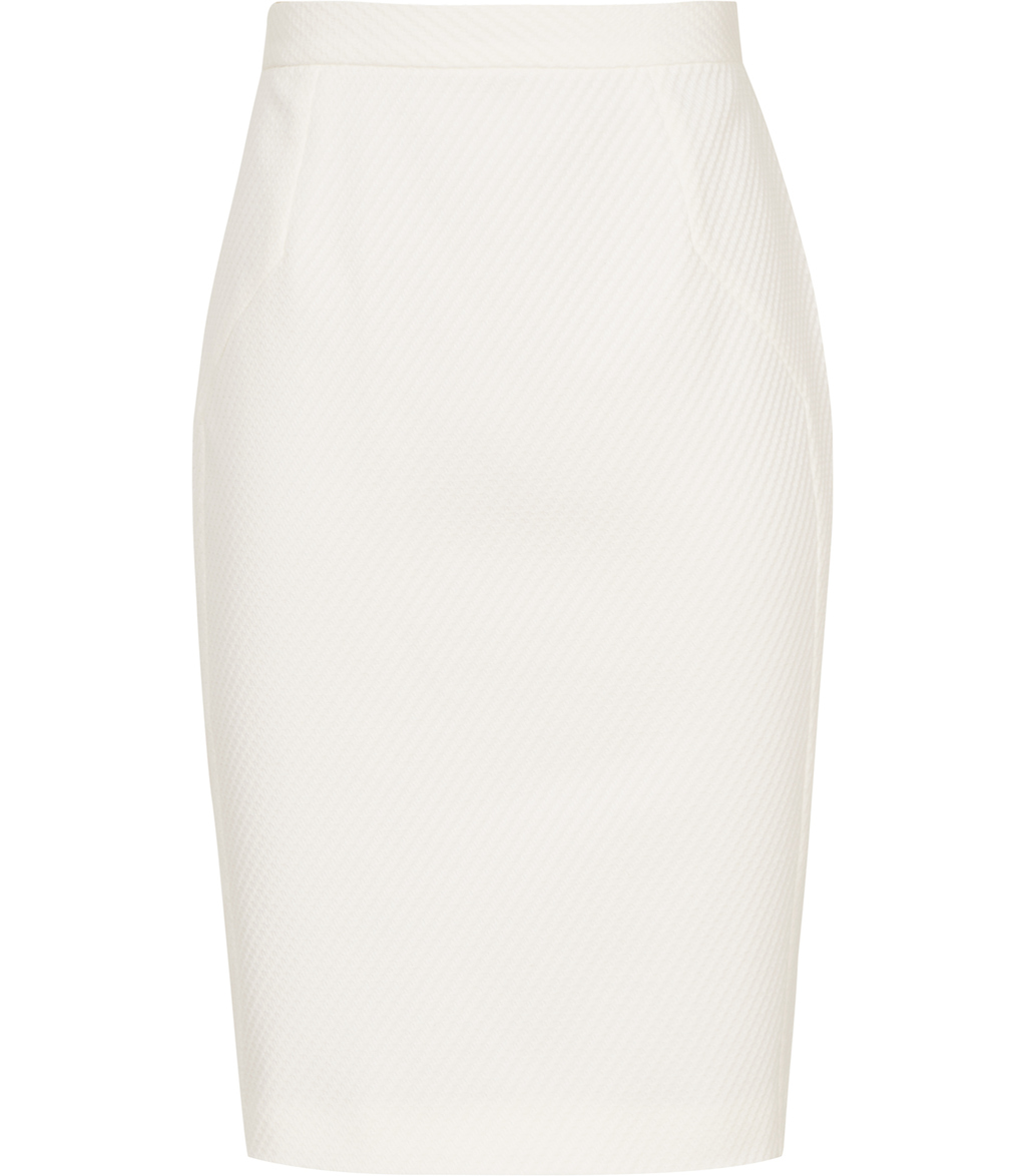Moon Skirt Womens Textured Pencil Skirt In White - pattern: plain; style: pencil; fit: tailored/fitted; waist: mid/regular rise; predominant colour: white; occasions: evening; length: just above the knee; fibres: cotton - stretch; pattern type: fabric; texture group: woven light midweight; season: s/s 2016; wardrobe: event