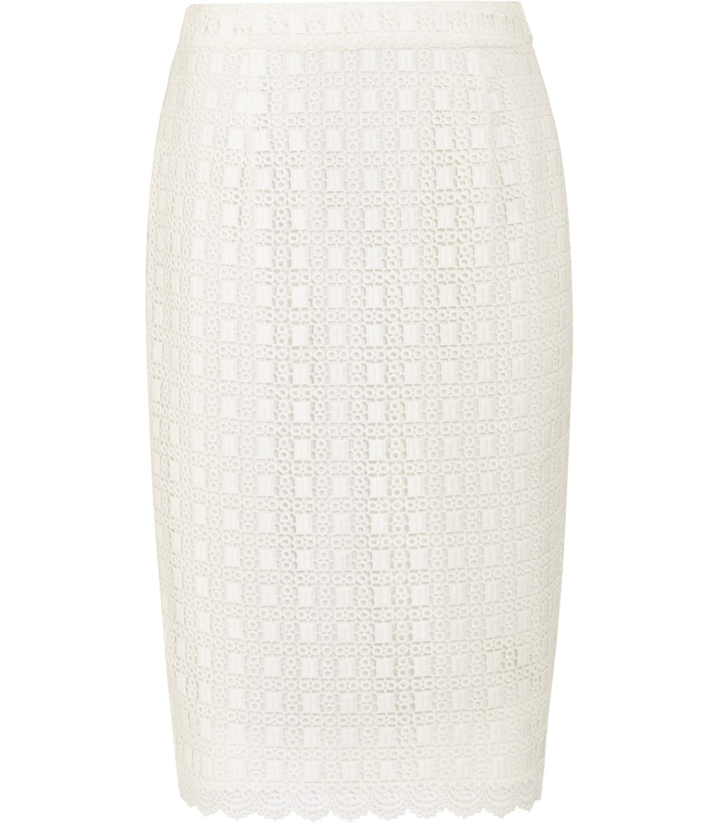 Denise Womens Lace Pencil Skirt In White - pattern: plain; style: pencil; fit: tailored/fitted; waist: mid/regular rise; predominant colour: white; length: just above the knee; fibres: polyester/polyamide - 100%; occasions: occasion; pattern type: fabric; texture group: woven light midweight; embellishment: lace; season: s/s 2016; wardrobe: event