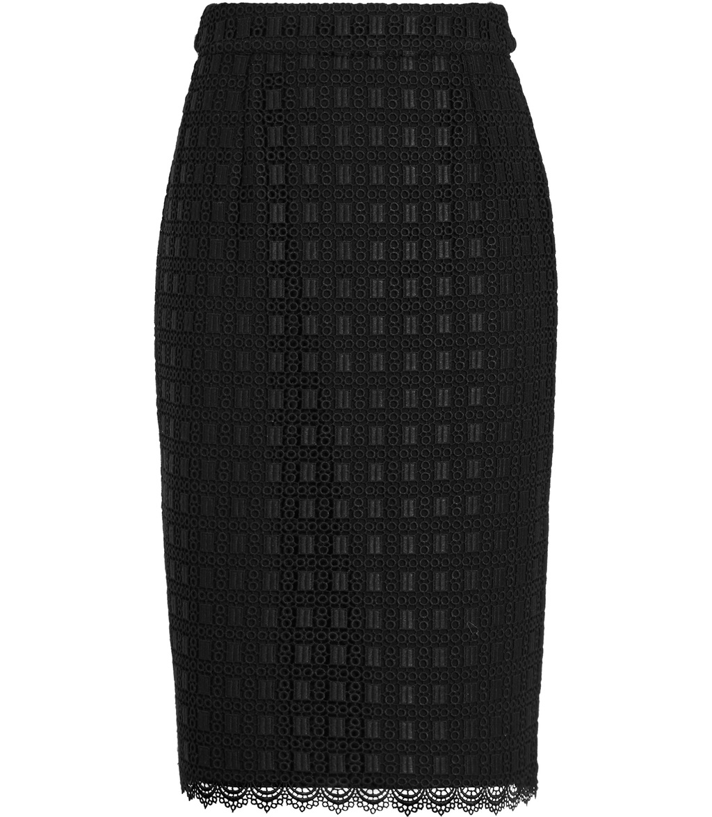 Denise Womens Lace Pencil Skirt In Black - length: below the knee; style: pencil; fit: tailored/fitted; waist: high rise; predominant colour: black; occasions: evening, work, occasion; fibres: polyester/polyamide - 100%; texture group: lace; pattern type: fabric; pattern: patterned/print; embellishment: lace; pattern size: standard (bottom); season: s/s 2016; wardrobe: highlight; embellishment location: hem