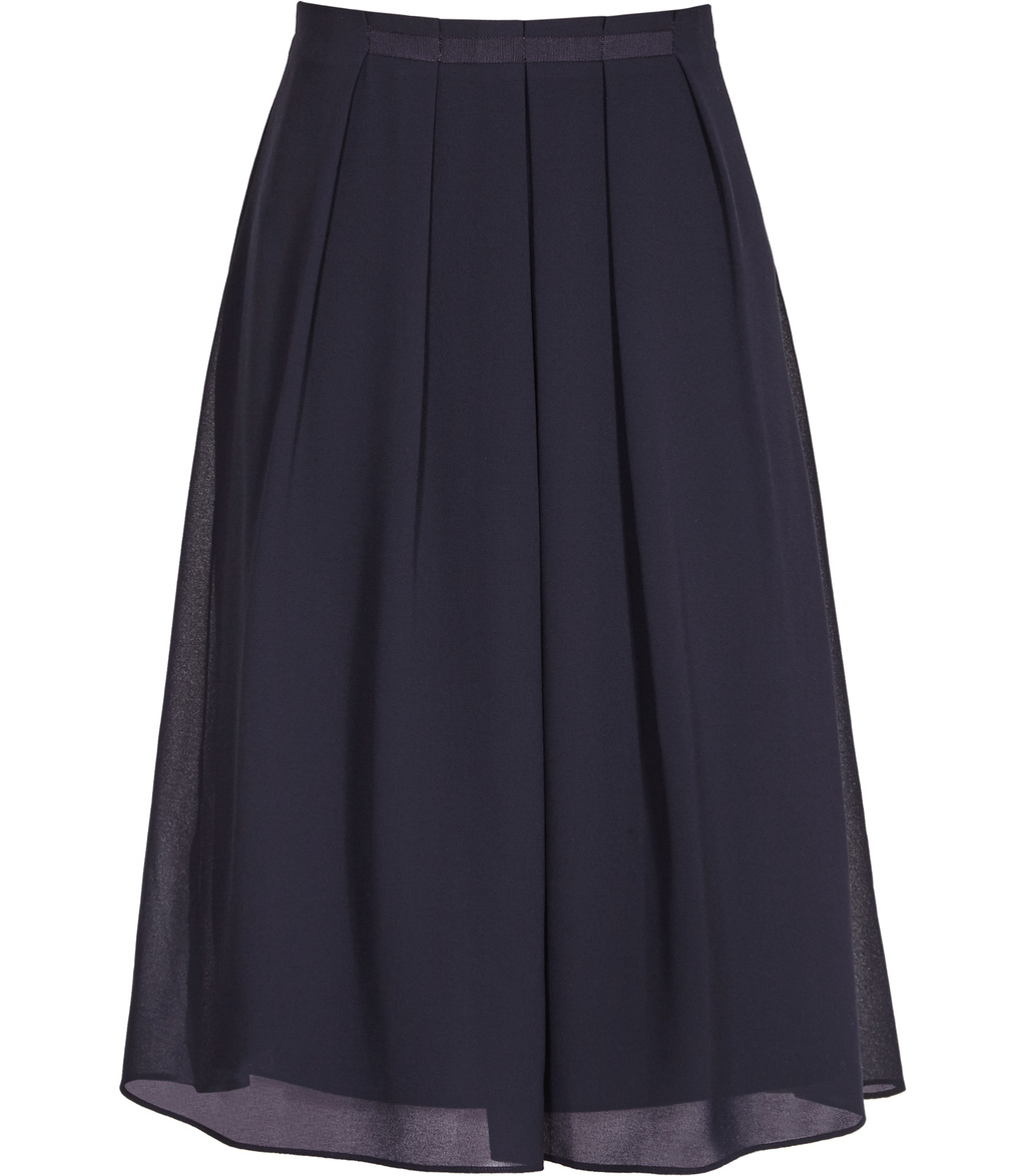 Petulia Womens Pleated Skirt In Blue - length: below the knee; pattern: plain; fit: loose/voluminous; style: pleated; waist: high rise; predominant colour: navy; occasions: work, occasion; fibres: polyester/polyamide - 100%; hip detail: adds bulk at the hips; texture group: sheer fabrics/chiffon/organza etc.; pattern type: fabric; season: s/s 2016; wardrobe: basic