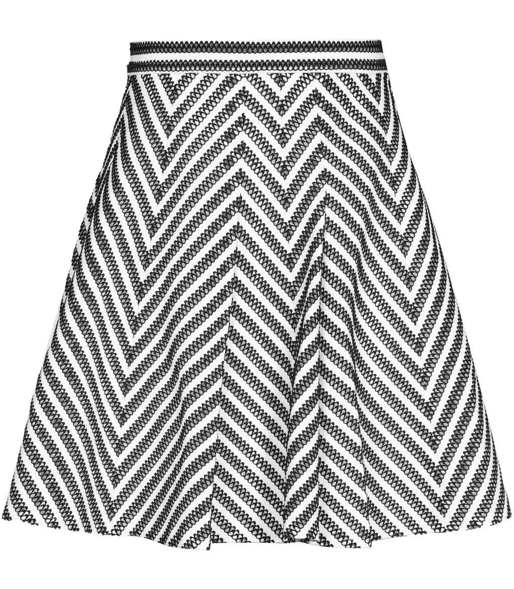 Sandra Womens Stripe Print Skirt In White - length: mid thigh; pattern: striped; fit: loose/voluminous; waist: high rise; secondary colour: white; predominant colour: black; occasions: casual, creative work; style: a-line; fibres: polyester/polyamide - 100%; hip detail: subtle/flattering hip detail; pattern type: fabric; texture group: woven light midweight; pattern size: big & busy (bottom); season: s/s 2016; wardrobe: highlight