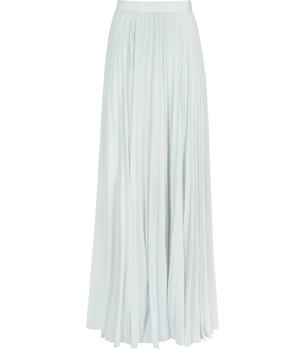 Rafa Womens Pleated Maxi Skirt In Blue - pattern: plain; length: ankle length; fit: body skimming; style: pleated; waist: high rise; predominant colour: pistachio; fibres: polyester/polyamide - 100%; occasions: occasion; hip detail: adds bulk at the hips; texture group: sheer fabrics/chiffon/organza etc.; pattern type: fabric; season: s/s 2016; wardrobe: event