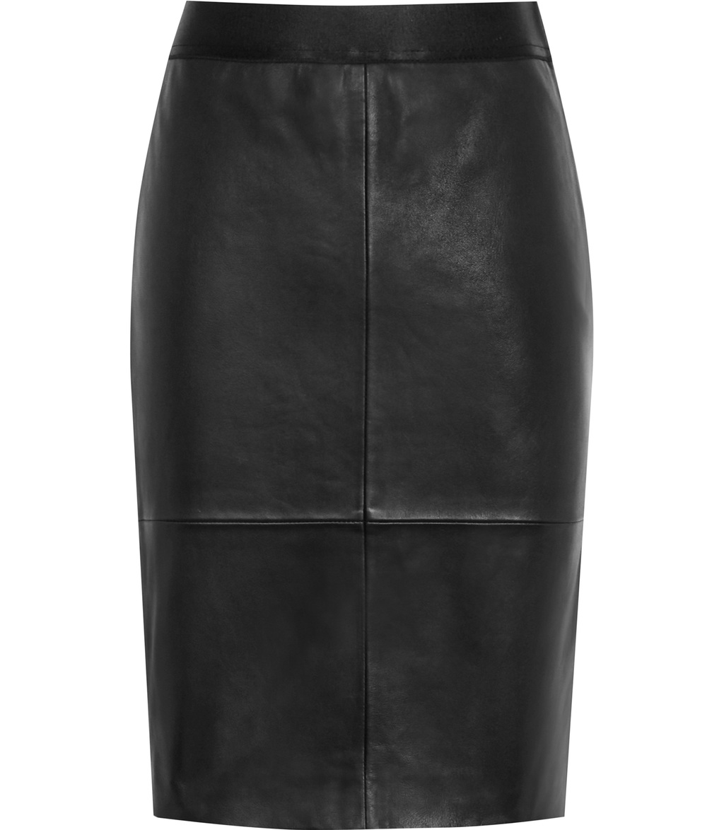 Tami Womens Leather Pencil Skirt In Black - pattern: plain; style: pencil; fit: body skimming; hip detail: fitted at hip; waist: mid/regular rise; predominant colour: black; occasions: evening; length: just above the knee; fibres: leather - 100%; texture group: leather; pattern type: fabric; season: s/s 2016