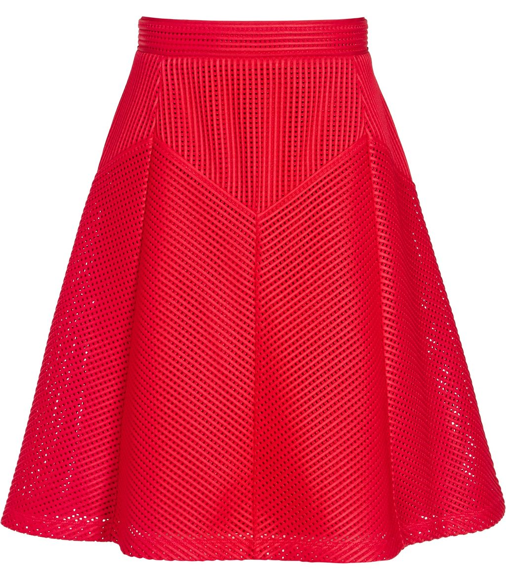 Amythist Womens Textured A Line Skirt In Red - pattern: plain; fit: loose/voluminous; waist: high rise; predominant colour: white; occasions: casual, creative work; length: just above the knee; style: a-line; fibres: polyester/polyamide - 100%; pattern type: fabric; texture group: woven light midweight; pattern size: standard (bottom); season: s/s 2016; wardrobe: basic