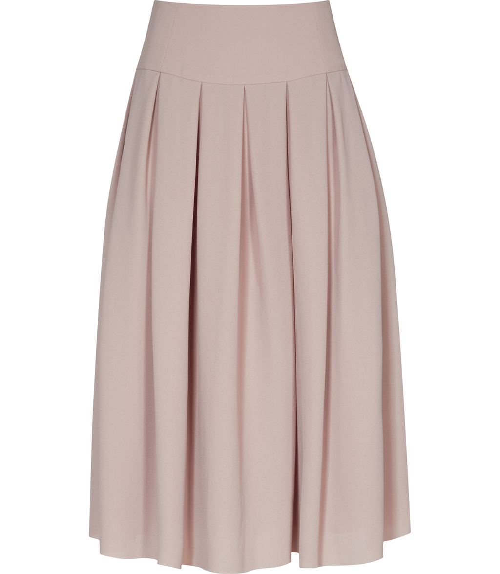 Eli Womens Pleated Midi Skirt In Pink - length: below the knee; pattern: plain; fit: body skimming; style: pleated; waist: mid/regular rise; predominant colour: blush; occasions: casual; fibres: polyester/polyamide - 100%; pattern type: fabric; texture group: woven light midweight; season: s/s 2016; wardrobe: basic