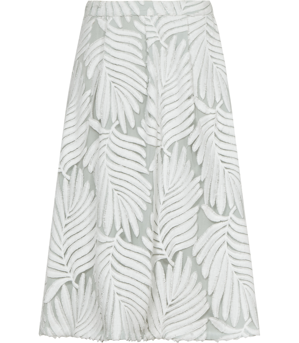 Hex Womens Textured Midi Skirt In White - length: below the knee; style: full/prom skirt; fit: loose/voluminous; waist: mid/regular rise; predominant colour: white; secondary colour: light grey; occasions: evening; fibres: nylon - 100%; pattern type: fabric; pattern: patterned/print; texture group: woven light midweight; season: s/s 2016; wardrobe: event
