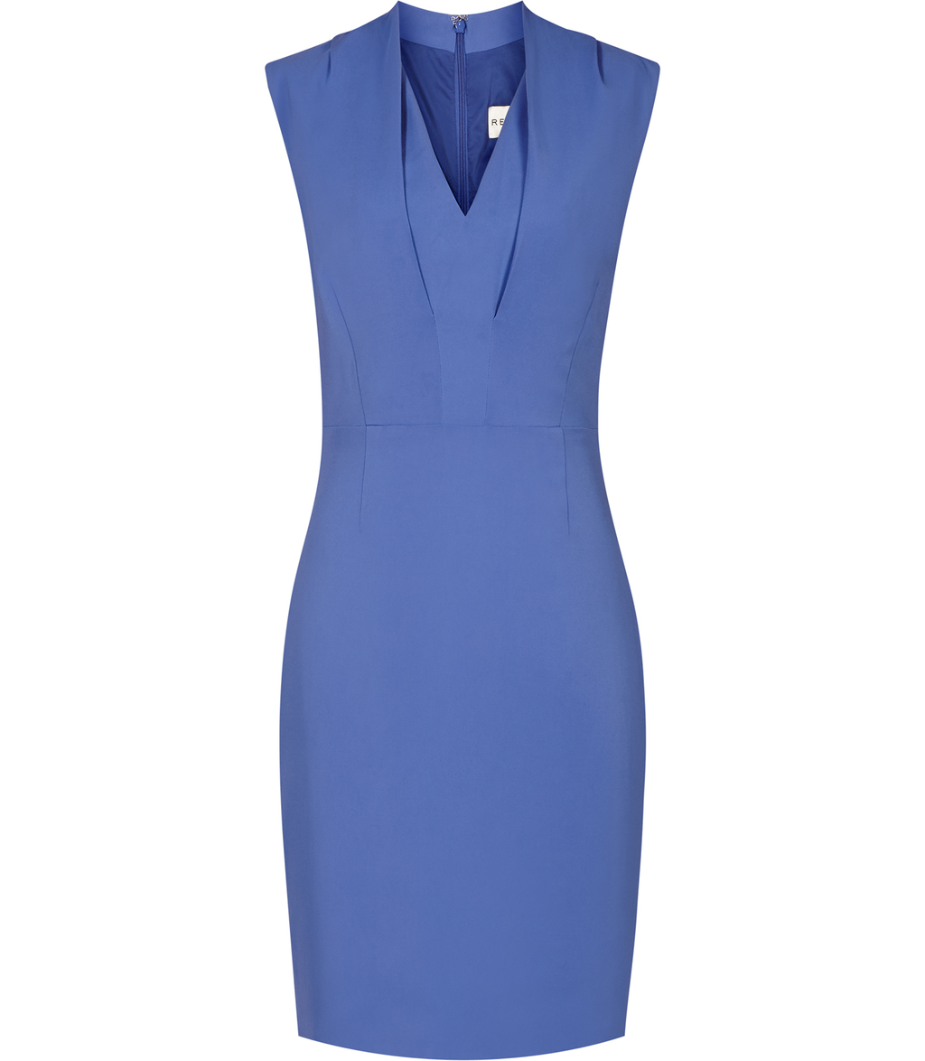 Cassia Womens Fitted V Neck Dress In Blue - style: shift; neckline: v-neck; fit: tailored/fitted; pattern: plain; sleeve style: sleeveless; predominant colour: pale blue; occasions: evening; length: just above the knee; fibres: viscose/rayon - stretch; sleeve length: sleeveless; pattern type: fabric; texture group: woven light midweight; season: s/s 2016; wardrobe: event