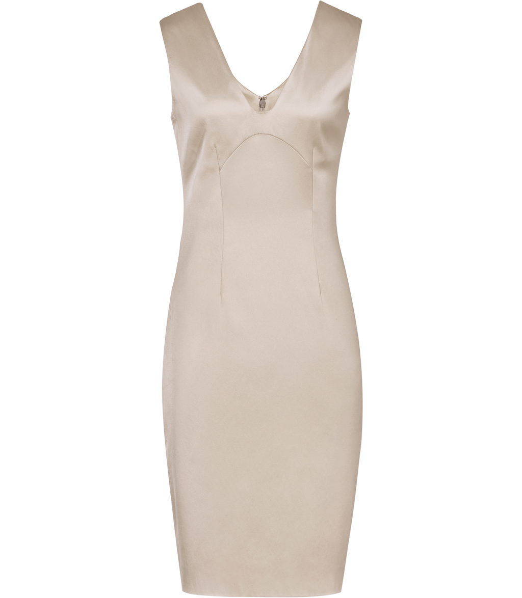 Kix Womens Metallic Bodycon Dress In White - neckline: v-neck; fit: tight; pattern: plain; sleeve style: sleeveless; style: bodycon; predominant colour: champagne; occasions: evening; length: on the knee; fibres: polyester/polyamide - stretch; sleeve length: sleeveless; texture group: silky - light; pattern type: fabric; season: s/s 2016