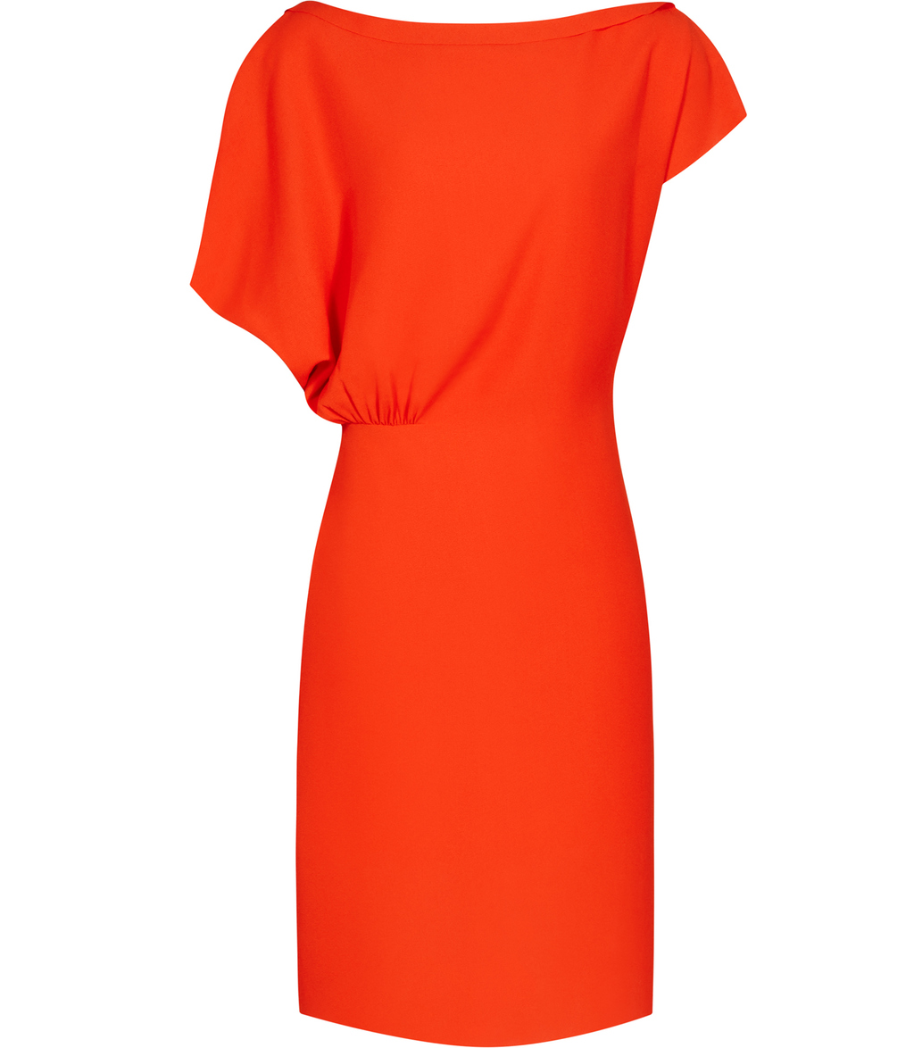 Yen Womens Draped Dress In Orange - style: shift; neckline: slash/boat neckline; fit: tailored/fitted; pattern: plain; sleeve style: asymmetric sleeve; predominant colour: bright orange; occasions: evening; length: on the knee; fibres: polyester/polyamide - 100%; sleeve length: short sleeve; pattern type: fabric; texture group: other - light to midweight; season: s/s 2016; wardrobe: event