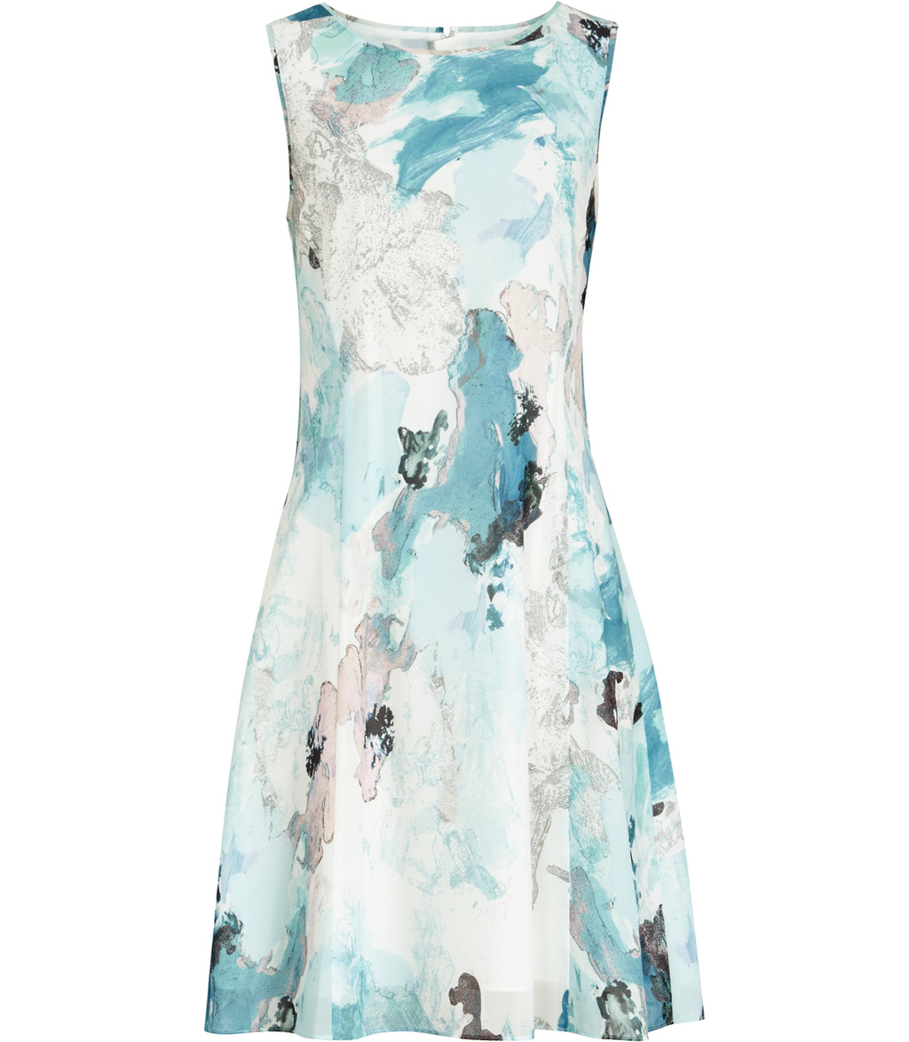 Powys Womens Printed Dress In Green - sleeve style: sleeveless; secondary colour: white; predominant colour: pale blue; occasions: evening; length: just above the knee; fit: fitted at waist & bust; style: fit & flare; fibres: polyester/polyamide - 100%; neckline: crew; sleeve length: sleeveless; pattern type: fabric; pattern: patterned/print; texture group: woven light midweight; multicoloured: multicoloured; season: s/s 2016; wardrobe: event