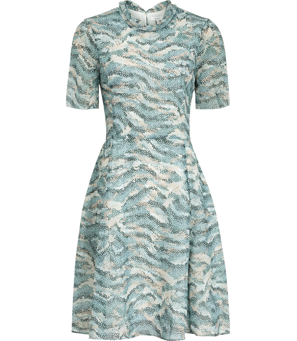 Somerset Womens Printed Dress In Green - neckline: high neck; secondary colour: white; predominant colour: pale blue; occasions: evening; length: just above the knee; fit: fitted at waist & bust; style: fit & flare; fibres: polyester/polyamide - 100%; sleeve length: short sleeve; sleeve style: standard; pattern type: fabric; pattern: patterned/print; texture group: brocade/jacquard; multicoloured: multicoloured; season: s/s 2016; wardrobe: event