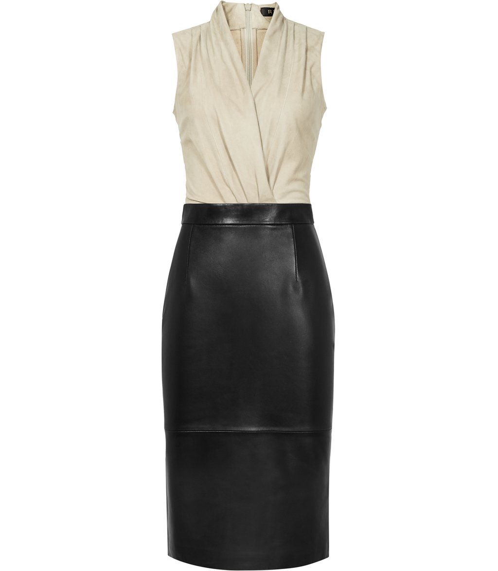 Birdie Womens Suede And Leather Dress In Black - style: faux wrap/wrap; neckline: v-neck; pattern: plain; sleeve style: sleeveless; predominant colour: ivory/cream; secondary colour: black; occasions: evening; length: on the knee; fit: body skimming; fibres: leather - 100%; sleeve length: sleeveless; pattern type: fabric; texture group: suede; multicoloured: multicoloured; season: s/s 2016; wardrobe: event