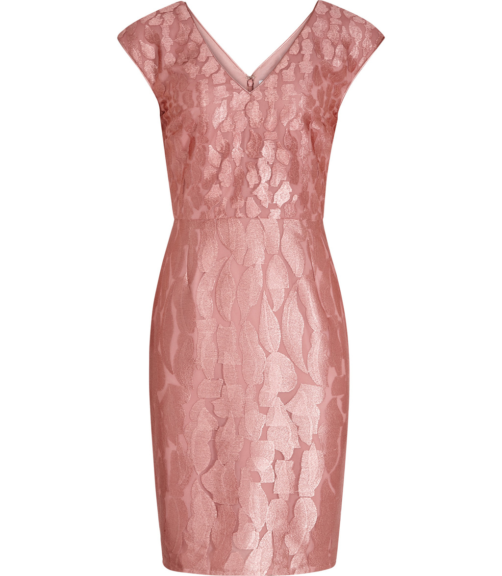 Nora Womens Devore Dress In Pink - style: shift; neckline: v-neck; sleeve style: capped; fit: tailored/fitted; predominant colour: pink; occasions: evening; length: just above the knee; fibres: nylon - 100%; sleeve length: short sleeve; pattern type: fabric; pattern: patterned/print; texture group: woven light midweight; embellishment: lace; season: s/s 2016
