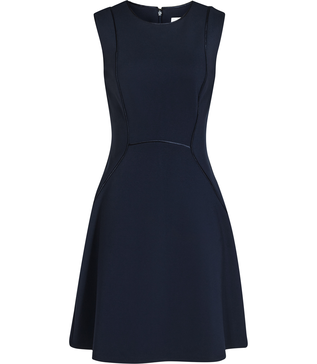 Honor Womens Fit And Flare Dress In Black - pattern: plain; sleeve style: sleeveless; predominant colour: navy; occasions: evening; length: just above the knee; fit: fitted at waist & bust; style: fit & flare; fibres: viscose/rayon - stretch; neckline: crew; sleeve length: sleeveless; pattern type: fabric; texture group: jersey - stretchy/drapey; season: s/s 2016; wardrobe: event