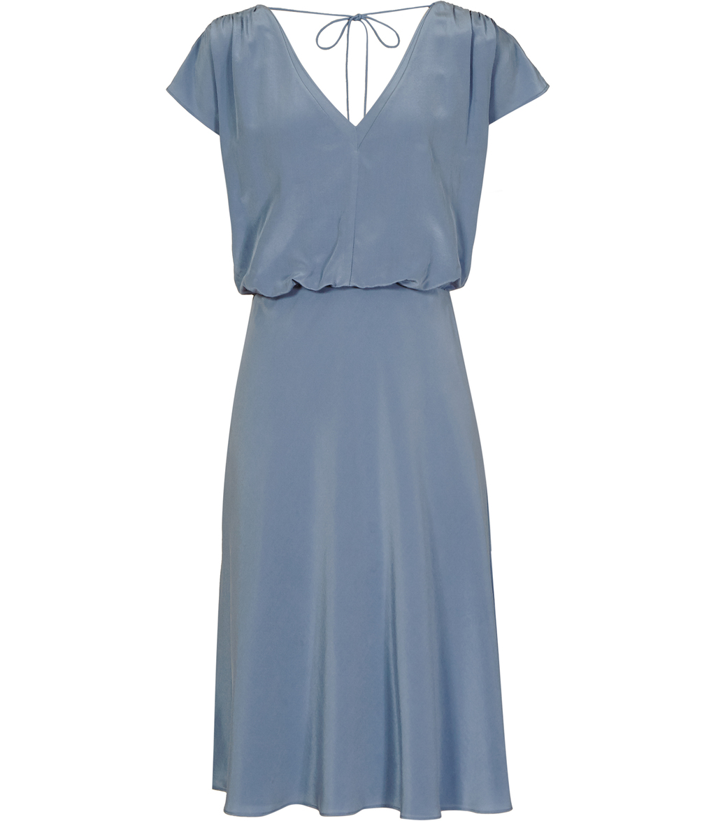 Cedar Womens V Neck Dress In Blue - style: shift; neckline: v-neck; sleeve style: capped; pattern: plain; predominant colour: pale blue; occasions: evening; length: on the knee; fit: body skimming; fibres: silk - 100%; sleeve length: short sleeve; texture group: silky - light; pattern type: fabric; season: s/s 2016; wardrobe: event