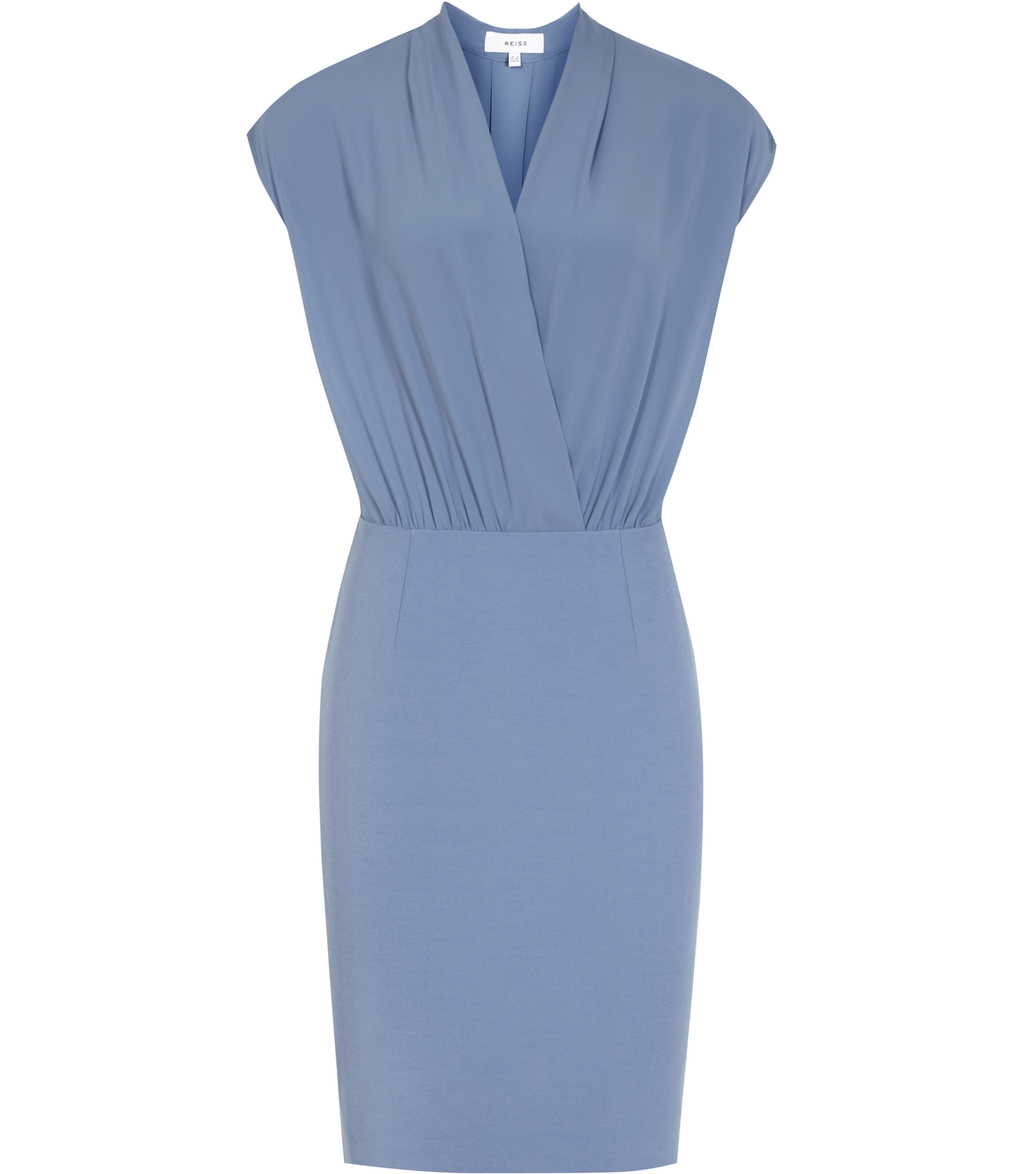 Warrick Womens Wrap Top Dress In Blue - style: faux wrap/wrap; neckline: v-neck; pattern: plain; sleeve style: sleeveless; predominant colour: pale blue; occasions: evening; length: just above the knee; fit: body skimming; fibres: polyester/polyamide - 100%; sleeve length: sleeveless; pattern type: fabric; texture group: jersey - stretchy/drapey; season: s/s 2016; wardrobe: event