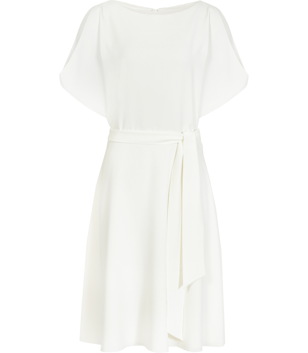 Hermione Womens Sleeve Detail Dress In White - style: shift; pattern: plain; waist detail: belted waist/tie at waist/drawstring; predominant colour: white; occasions: evening; length: on the knee; fit: body skimming; fibres: polyester/polyamide - 100%; neckline: crew; sleeve length: short sleeve; sleeve style: standard; texture group: crepes; pattern type: fabric; season: s/s 2016; wardrobe: event
