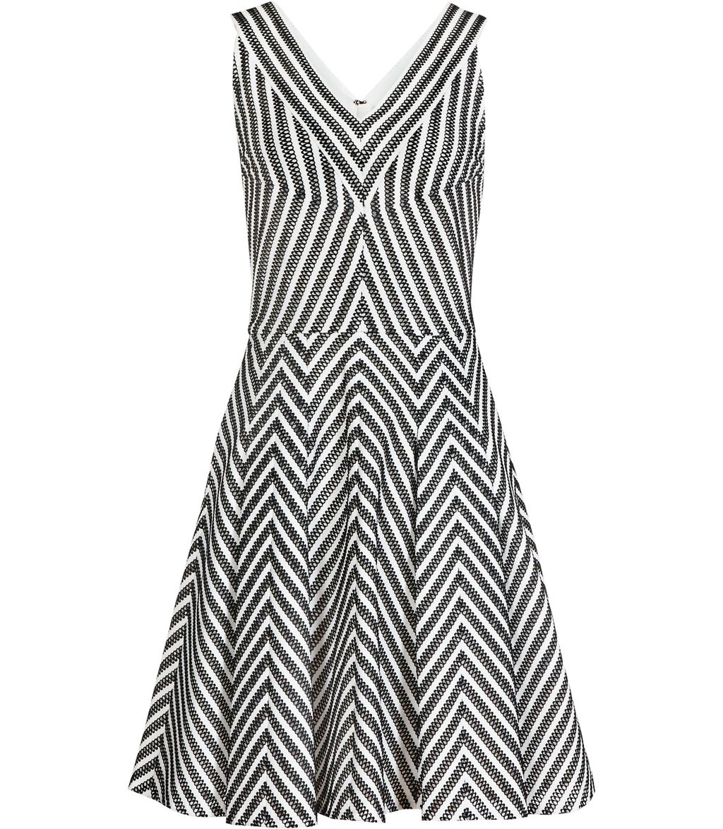Beverly Womens Striped Fit And Flare Dress In White - neckline: v-neck; sleeve style: sleeveless; pattern: striped; secondary colour: white; predominant colour: black; occasions: evening; length: just above the knee; fit: fitted at waist & bust; style: fit & flare; fibres: polyester/polyamide - stretch; sleeve length: sleeveless; pattern type: fabric; texture group: jersey - stretchy/drapey; season: s/s 2016; wardrobe: event