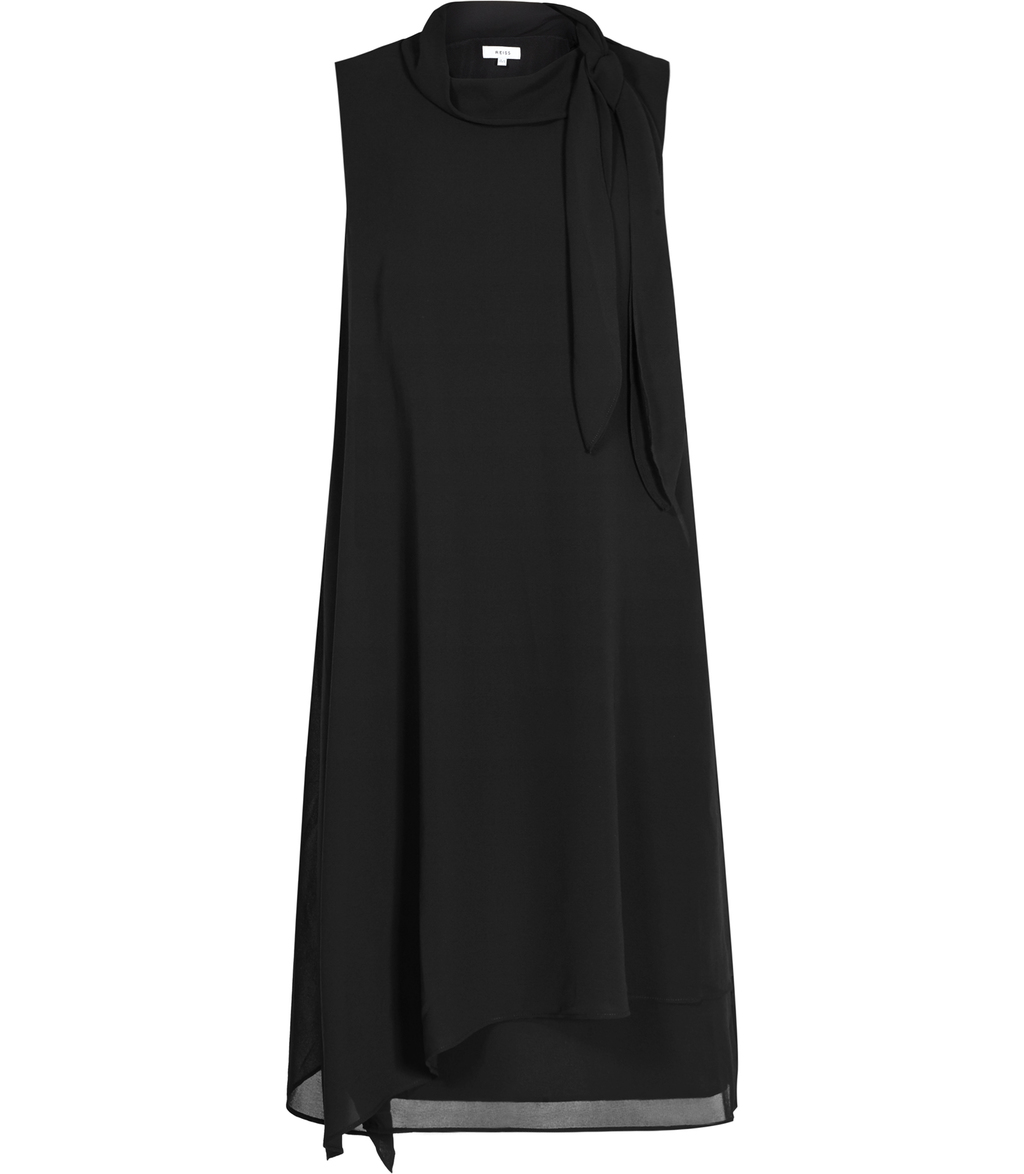 Aries Womens Tie Neck Dress In Black - style: shift; length: mid thigh; pattern: plain; sleeve style: sleeveless; neckline: pussy bow; predominant colour: black; occasions: evening, occasion; fit: soft a-line; fibres: polyester/polyamide - 100%; sleeve length: sleeveless; texture group: sheer fabrics/chiffon/organza etc.; pattern type: fabric; season: s/s 2016; wardrobe: event