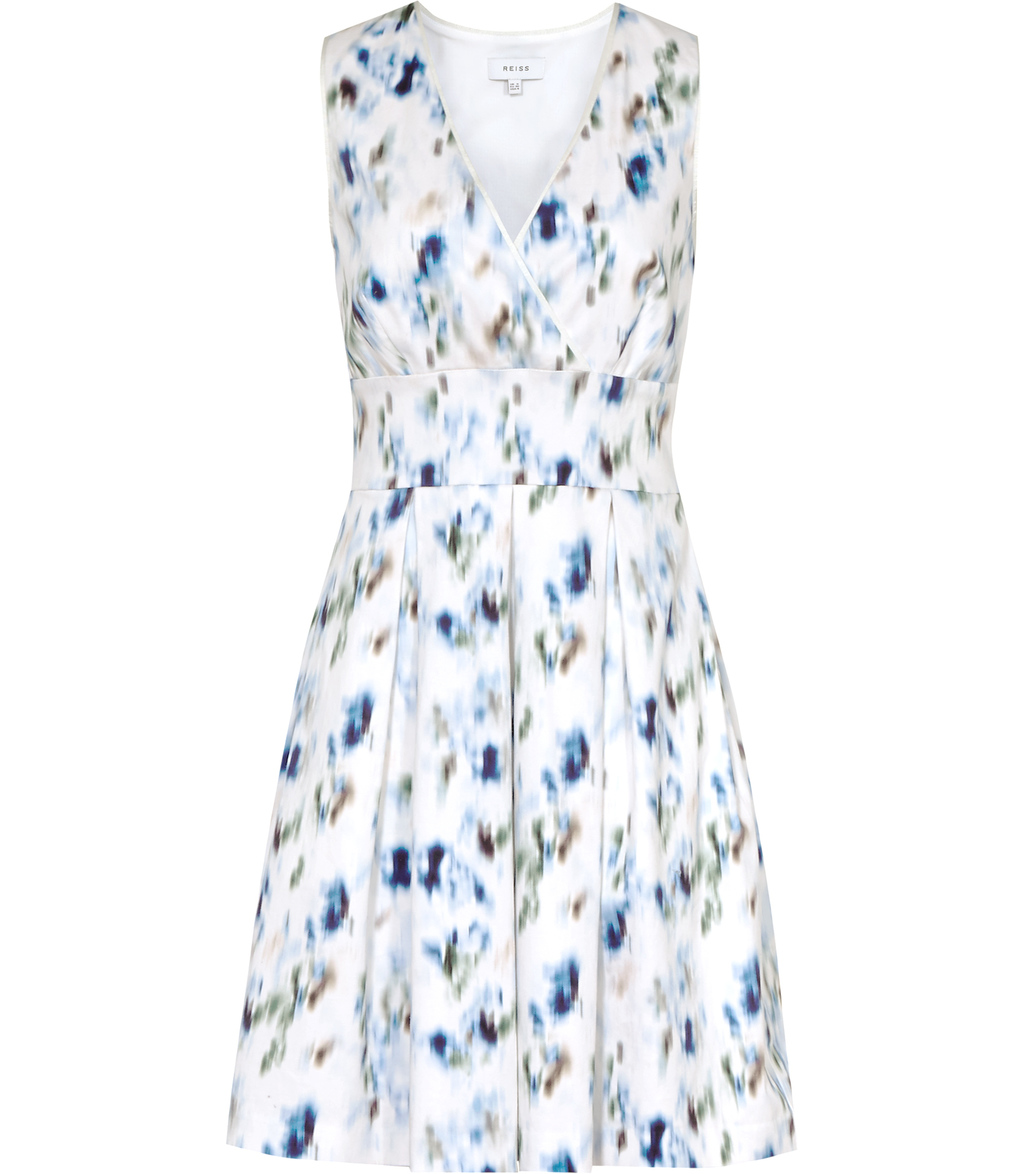 Anabella Womens Printed Fit And Flare Dress In Blue - neckline: v-neck; sleeve style: sleeveless; predominant colour: white; secondary colour: royal blue; occasions: evening; length: just above the knee; fit: fitted at waist & bust; style: fit & flare; fibres: polyester/polyamide - stretch; sleeve length: sleeveless; pattern type: fabric; pattern: florals; texture group: other - light to midweight; multicoloured: multicoloured; season: s/s 2016