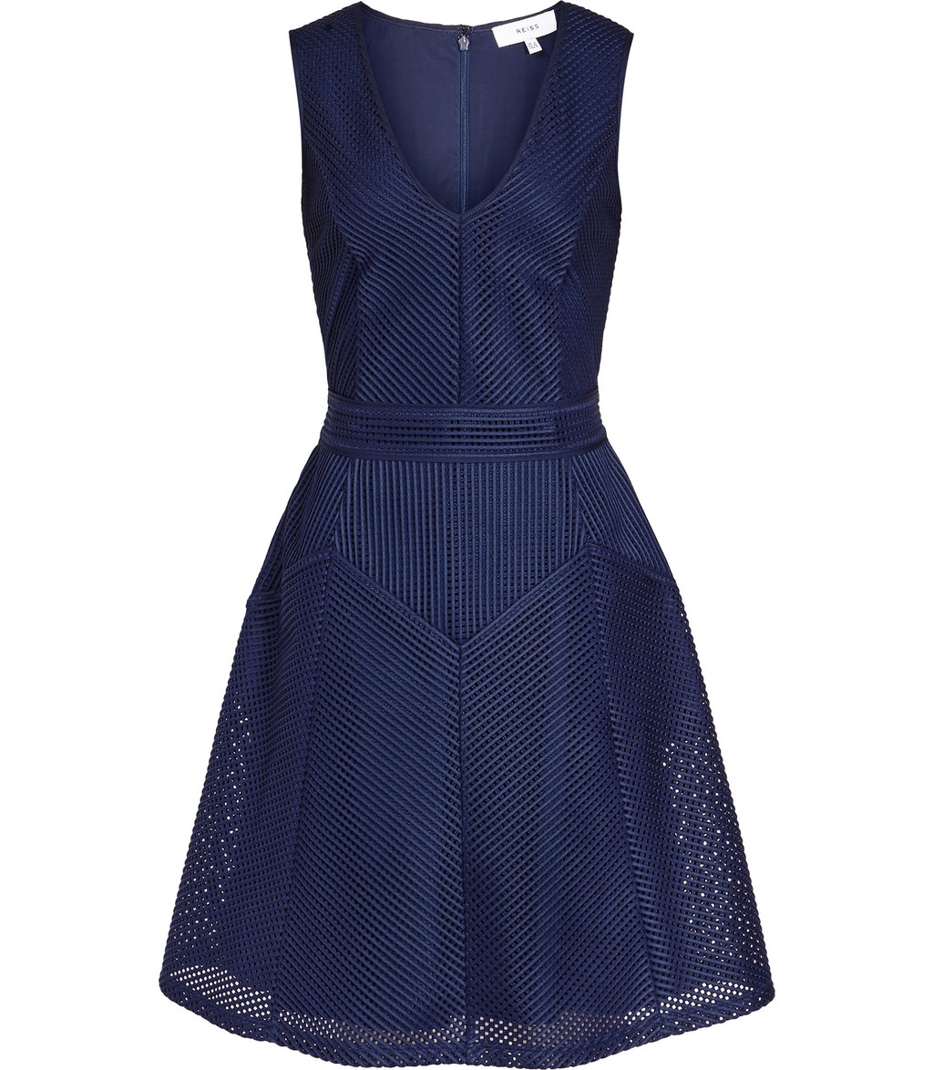 Topaz Womens Textured Fit And Flare Dress In Blue - neckline: v-neck; pattern: plain; sleeve style: sleeveless; style: full skirt; predominant colour: navy; occasions: evening; length: just above the knee; fit: fitted at waist & bust; fibres: polyester/polyamide - 100%; sleeve length: sleeveless; pattern type: fabric; texture group: woven light midweight; season: s/s 2016; wardrobe: event