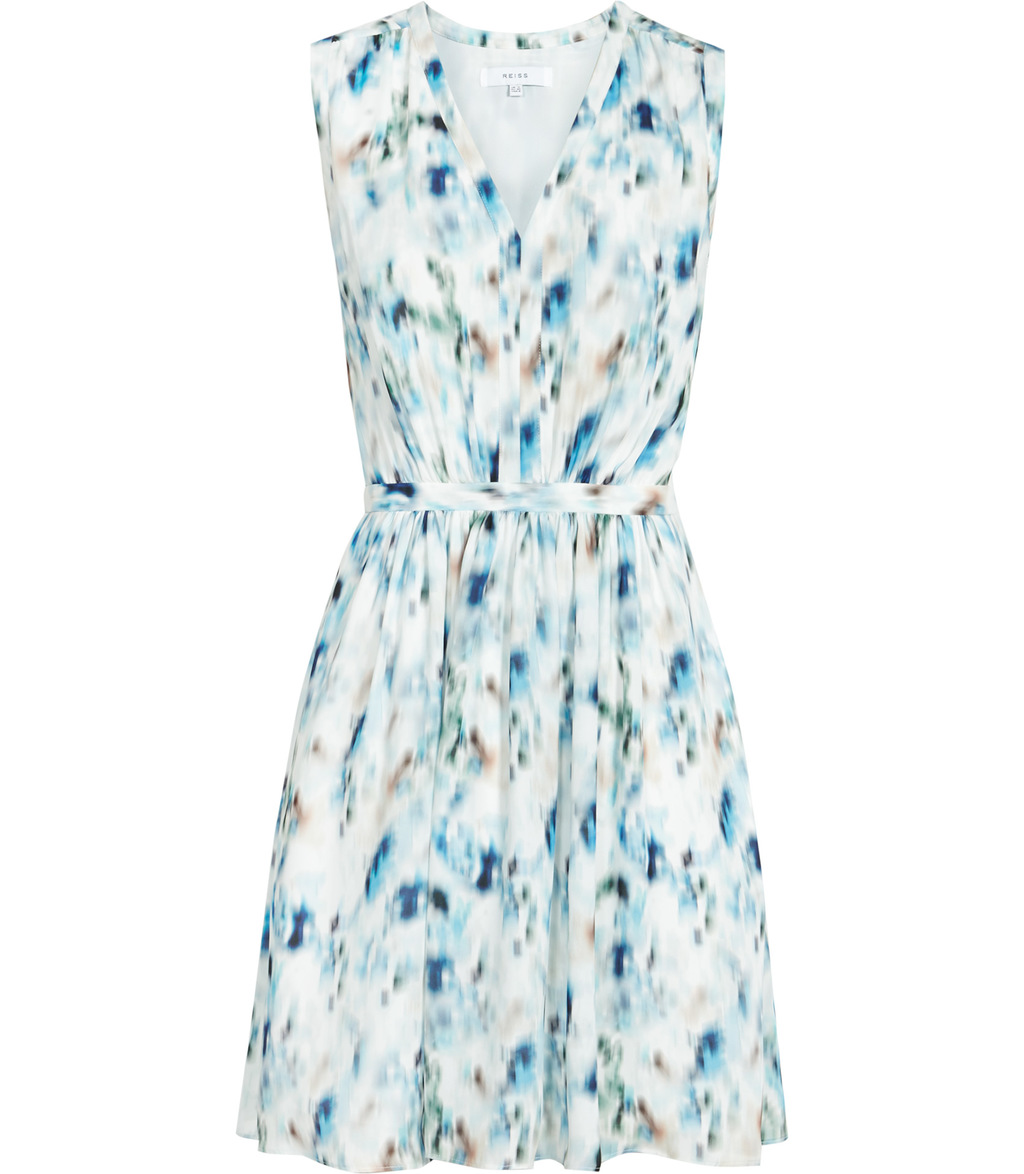 Frida Womens Printed V Neck Dress In Blue - neckline: v-neck; sleeve style: sleeveless; waist detail: belted waist/tie at waist/drawstring; predominant colour: white; secondary colour: diva blue; occasions: evening; length: just above the knee; fit: fitted at waist & bust; style: fit & flare; fibres: polyester/polyamide - 100%; sleeve length: sleeveless; texture group: crepes; pattern type: fabric; pattern: patterned/print; multicoloured: multicoloured; season: s/s 2016; wardrobe: event