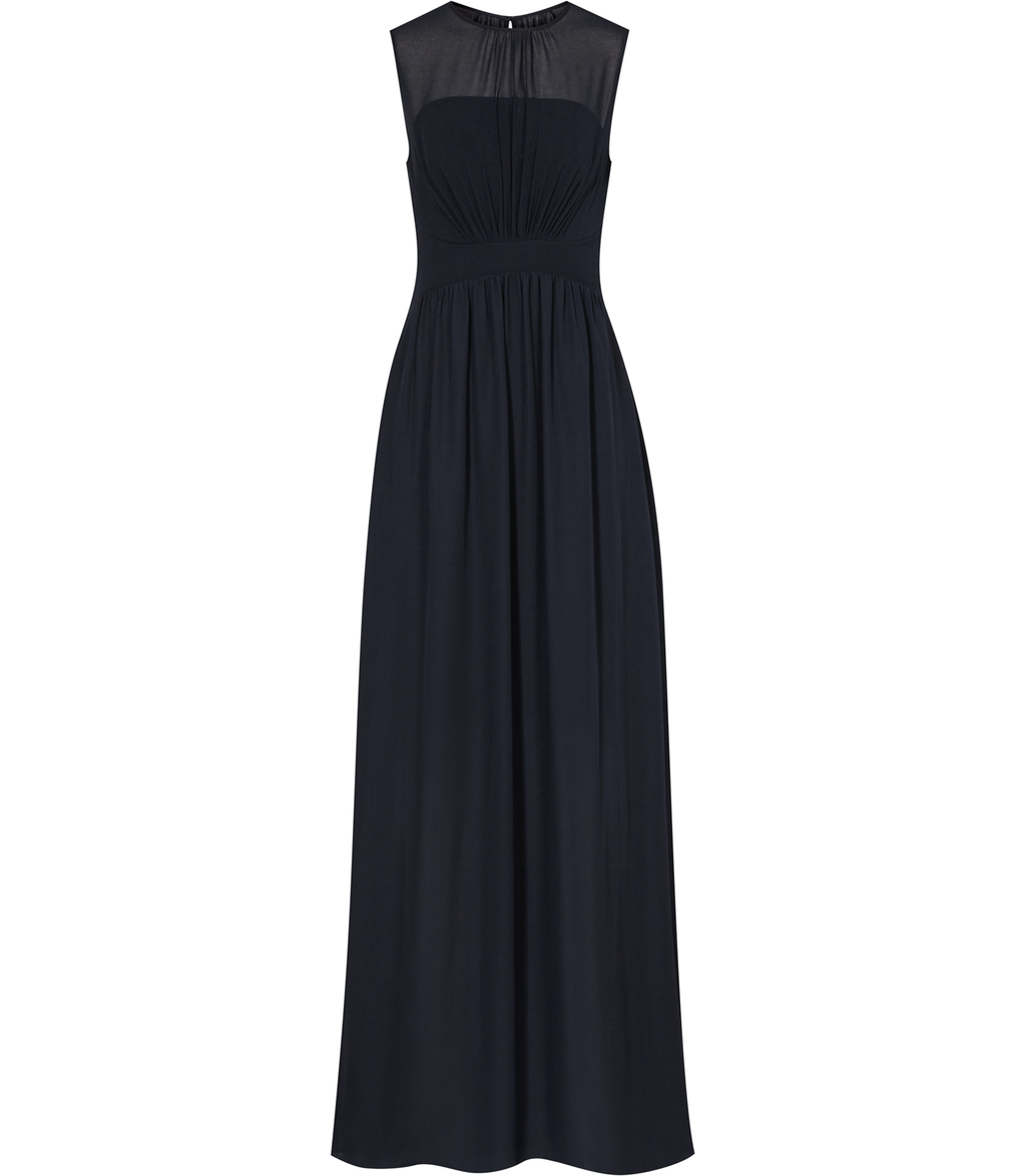 Clara Womens Sleeveless Maxi Dress In Blue - pattern: plain; sleeve style: sleeveless; style: maxi dress; length: ankle length; bust detail: subtle bust detail; predominant colour: navy; occasions: evening; fit: body skimming; fibres: polyester/polyamide - 100%; neckline: crew; hip detail: subtle/flattering hip detail; sleeve length: sleeveless; texture group: sheer fabrics/chiffon/organza etc.; pattern type: fabric; shoulder detail: sheer at shoulder; season: s/s 2016; wardrobe: event