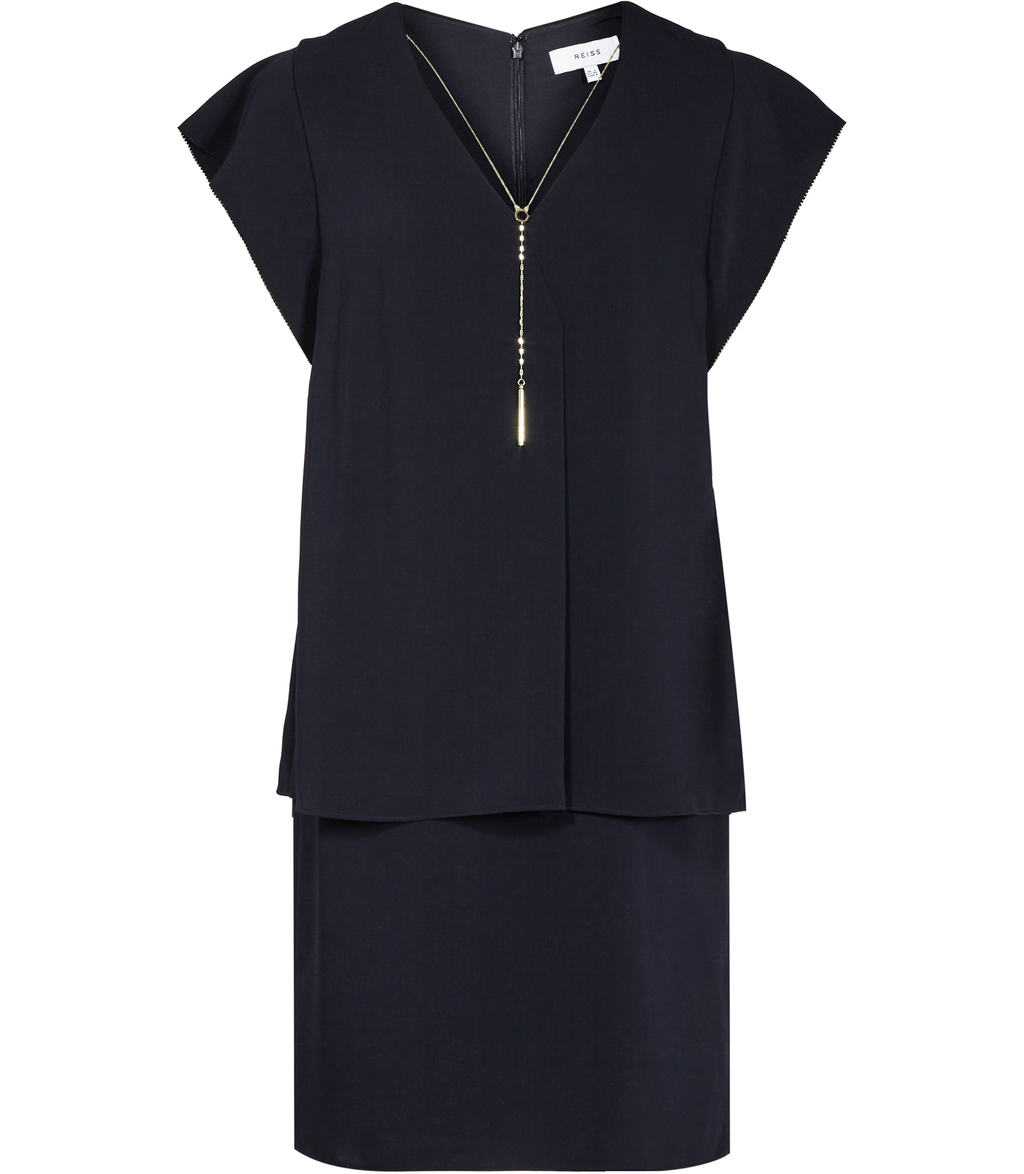 Tarquin Womens Chain Detail Dress In Blue - style: shift; length: mid thigh; neckline: v-neck; sleeve style: capped; pattern: plain; predominant colour: navy; occasions: evening, creative work; fit: straight cut; fibres: polyester/polyamide - 100%; sleeve length: short sleeve; texture group: crepes; pattern type: fabric; season: s/s 2016; wardrobe: investment