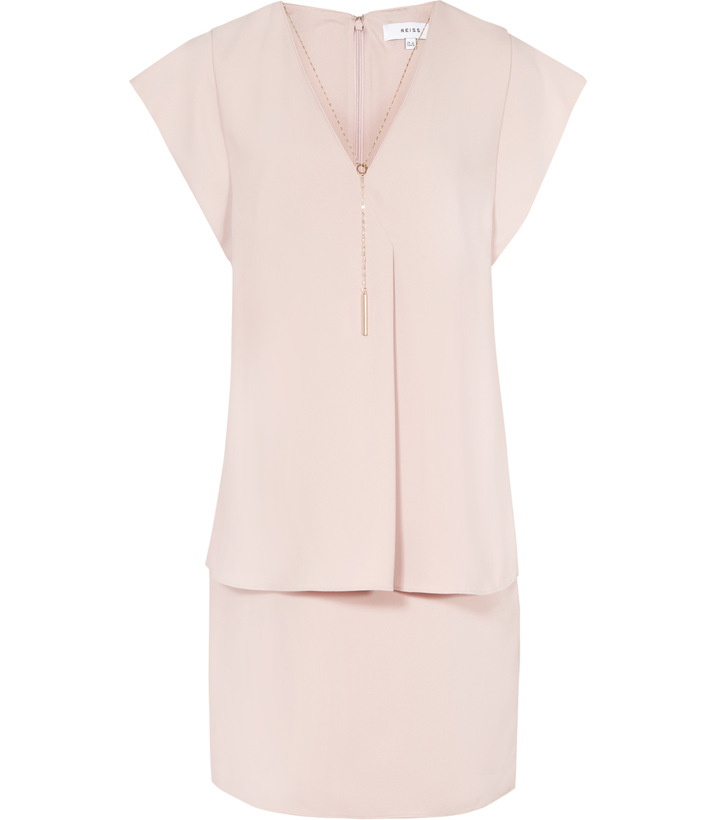 Tarquin Womens Chain Detail Dress In Pink - style: shift; neckline: v-neck; pattern: plain; predominant colour: blush; occasions: evening; length: just above the knee; fit: body skimming; fibres: polyester/polyamide - 100%; sleeve length: short sleeve; sleeve style: standard; texture group: crepes; pattern type: fabric; season: s/s 2016; wardrobe: event