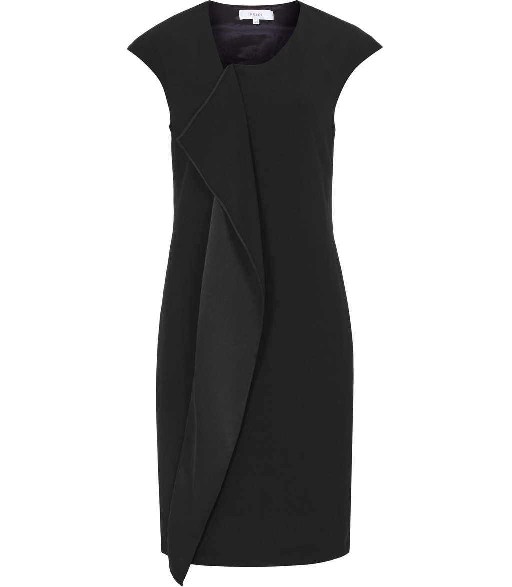 Cora Womens Zip Front Dress In Black - style: shift; sleeve style: capped; pattern: plain; predominant colour: black; occasions: evening; length: just above the knee; fit: body skimming; fibres: polyester/polyamide - 100%; neckline: crew; sleeve length: short sleeve; bust detail: tiers/frills/bulky drapes/pleats; pattern type: fabric; texture group: jersey - stretchy/drapey; season: s/s 2016