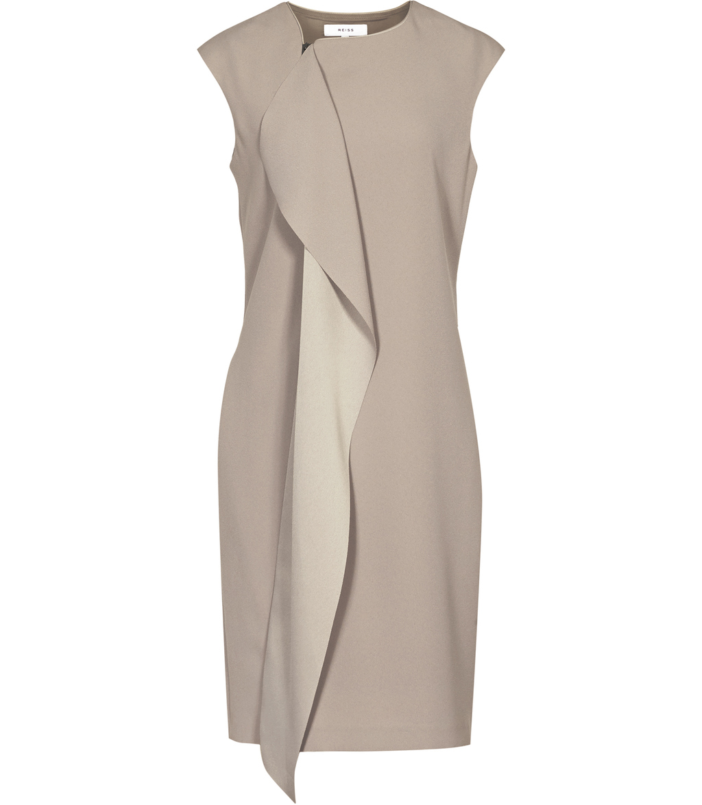 Cora Womens Zip Front Dress In Grey - style: shift; fit: tailored/fitted; pattern: plain; sleeve style: sleeveless; predominant colour: light grey; occasions: evening; length: just above the knee; fibres: polyester/polyamide - 100%; neckline: crew; sleeve length: sleeveless; texture group: crepes; bust detail: bulky details at bust; pattern type: fabric; season: s/s 2016; wardrobe: event