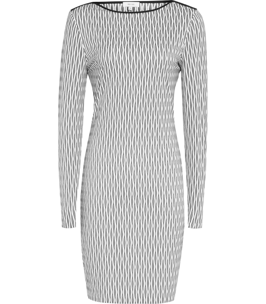 Auguste Womens Graphic Bodycon Dress In White - fit: tight; style: bodycon; predominant colour: light grey; occasions: evening; length: just above the knee; fibres: polyester/polyamide - stretch; neckline: crew; sleeve length: long sleeve; sleeve style: standard; texture group: jersey - clingy; pattern type: fabric; pattern: patterned/print; season: s/s 2016; wardrobe: event