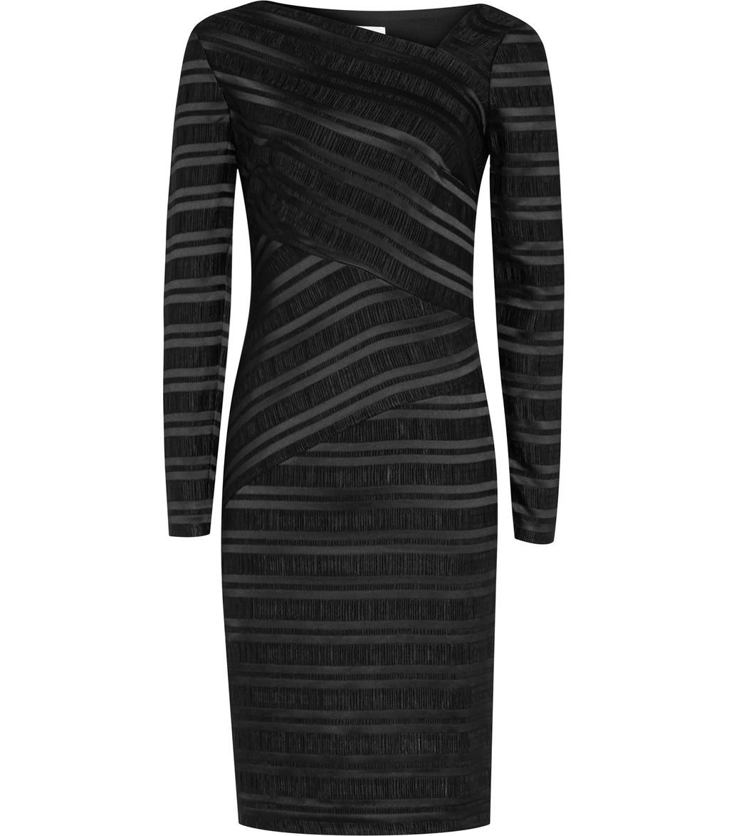 Ailette Womens Textured Stripe Dress In Black - fit: tight; style: bodycon; pattern: striped; neckline: asymmetric; predominant colour: black; occasions: evening; length: just above the knee; fibres: viscose/rayon - stretch; sleeve length: long sleeve; sleeve style: standard; texture group: jersey - clingy; pattern type: fabric; season: s/s 2016; wardrobe: event