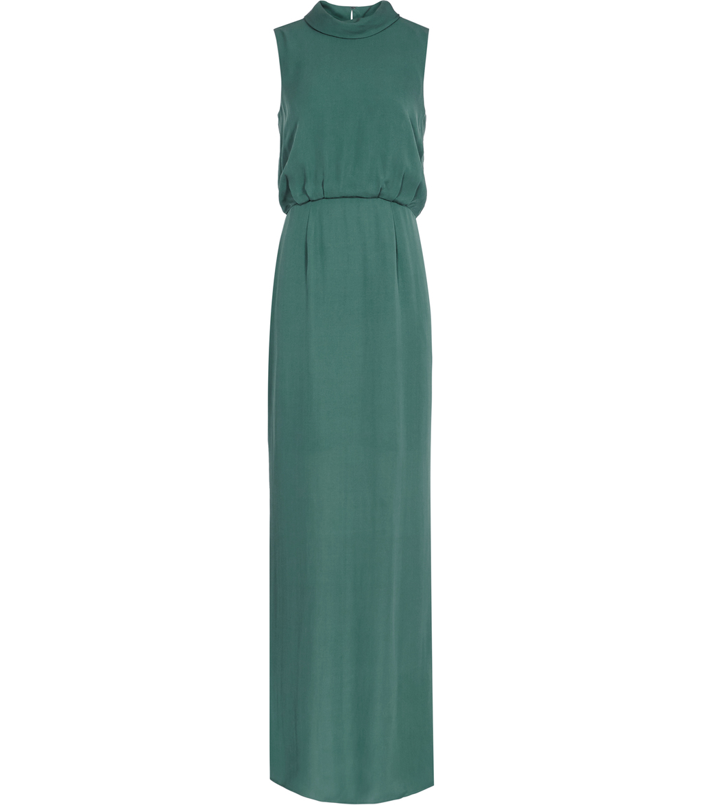 Ora Womens High Neck Maxi Dress In Green - pattern: plain; sleeve style: sleeveless; style: maxi dress; neckline: high neck; length: ankle length; predominant colour: dark green; occasions: evening; fit: body skimming; fibres: silk - 100%; sleeve length: sleeveless; texture group: crepes; pattern type: fabric; season: s/s 2016; wardrobe: event