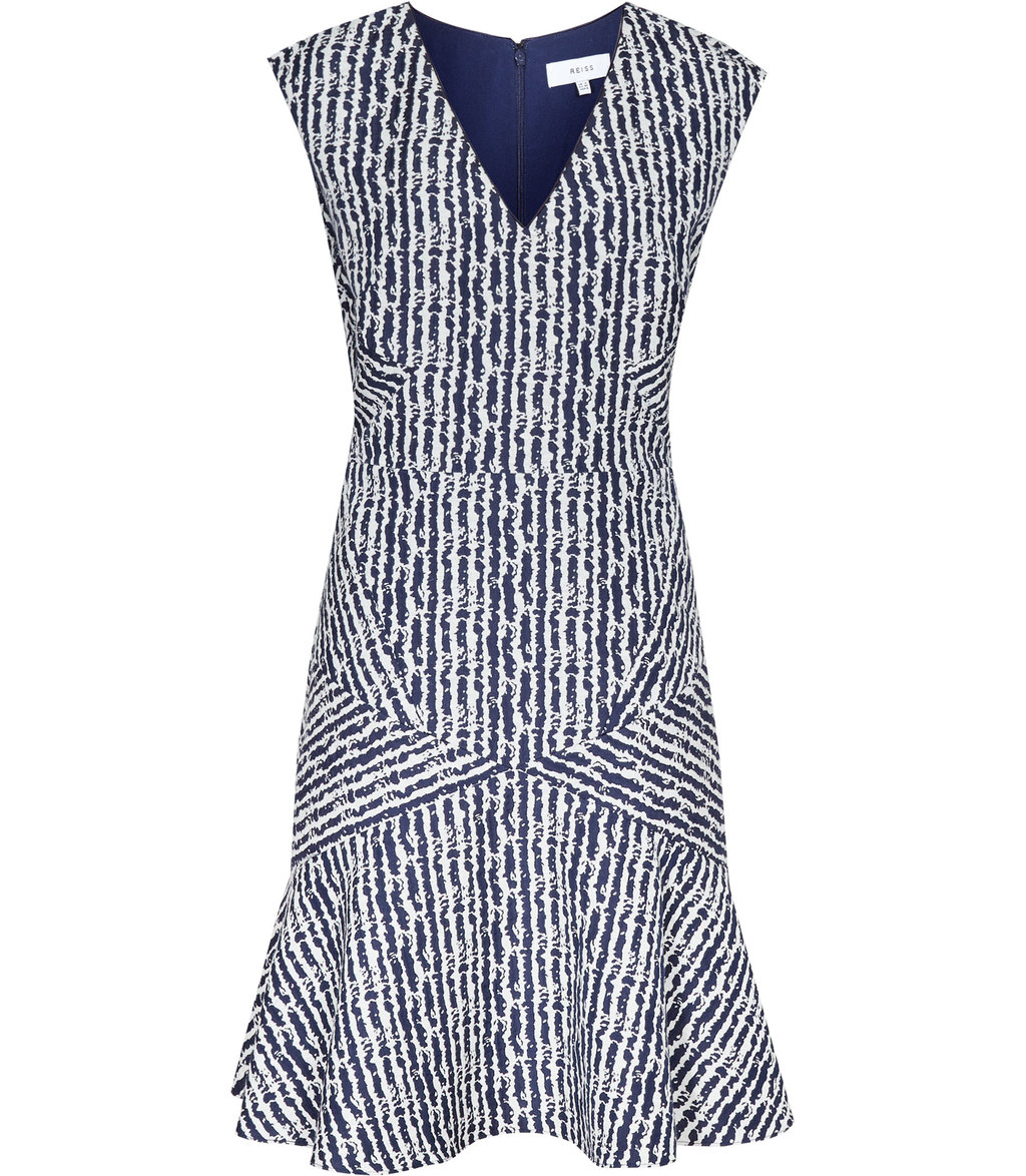 Gilles Womens Jacquard Fit And Flare Dress In Blue - neckline: v-neck; sleeve style: sleeveless; secondary colour: white; predominant colour: navy; occasions: evening; length: just above the knee; fit: fitted at waist & bust; style: fit & flare; fibres: polyester/polyamide - stretch; sleeve length: sleeveless; pattern type: fabric; pattern: patterned/print; texture group: brocade/jacquard; multicoloured: multicoloured; season: s/s 2016; wardrobe: event
