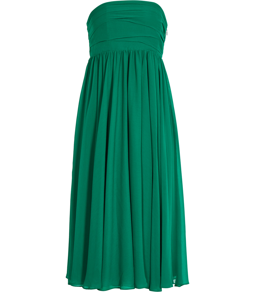 Athena Womens Strapless Layered Dress In Green - length: calf length; neckline: strapless (straight/sweetheart); pattern: plain; style: prom dress; sleeve style: strapless; predominant colour: emerald green; occasions: evening; fit: fitted at waist & bust; fibres: polyester/polyamide - 100%; sleeve length: sleeveless; texture group: crepes; pattern type: fabric; season: s/s 2016; wardrobe: event