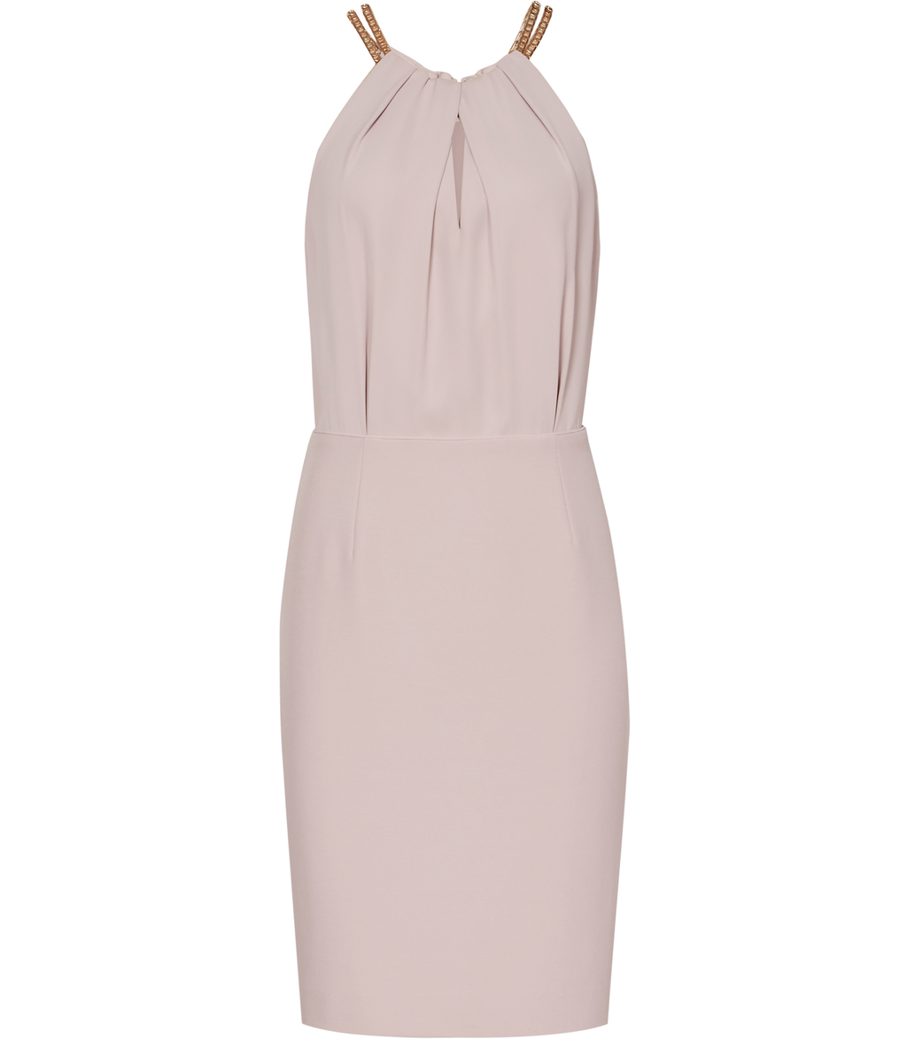 Odessa Womens Chain Neck Detail Dress In Pink - style: shift; length: mid thigh; fit: tailored/fitted; pattern: plain; sleeve style: sleeveless; hip detail: fitted at hip; predominant colour: blush; occasions: evening, occasion; fibres: polyester/polyamide - 100%; sleeve length: sleeveless; texture group: crepes; bust detail: tiers/frills/bulky drapes/pleats; pattern type: fabric; season: s/s 2016; neckline: high halter neck; wardrobe: event
