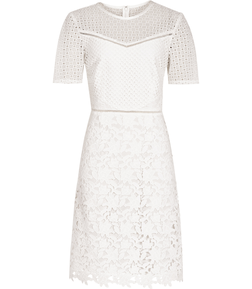 Heather Womens Lace Dress In White - bust detail: sheer at bust; predominant colour: white; occasions: evening; length: on the knee; fit: fitted at waist & bust; style: fit & flare; fibres: polyester/polyamide - 100%; neckline: crew; sleeve length: short sleeve; sleeve style: standard; texture group: lace; pattern type: fabric; pattern size: standard; pattern: patterned/print; season: s/s 2016