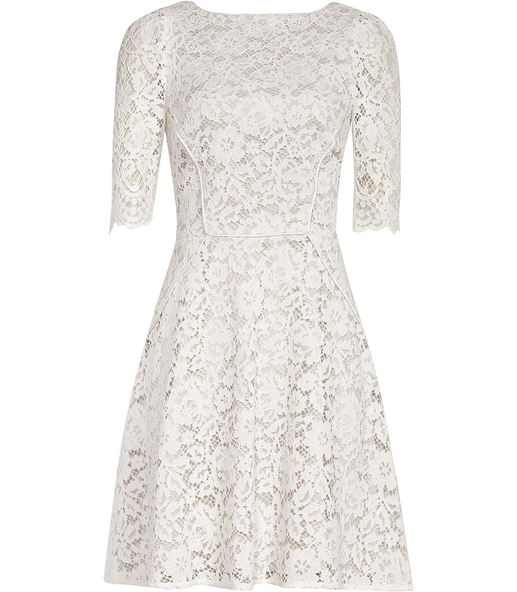 Missie Womens Lace Fit And Flare Dress In White - predominant colour: ivory/cream; occasions: evening; length: just above the knee; fit: fitted at waist & bust; style: fit & flare; neckline: crew; sleeve length: half sleeve; sleeve style: standard; texture group: lace; pattern type: fabric; pattern size: standard; pattern: patterned/print; fibres: viscose/rayon - mix; season: s/s 2016; wardrobe: event