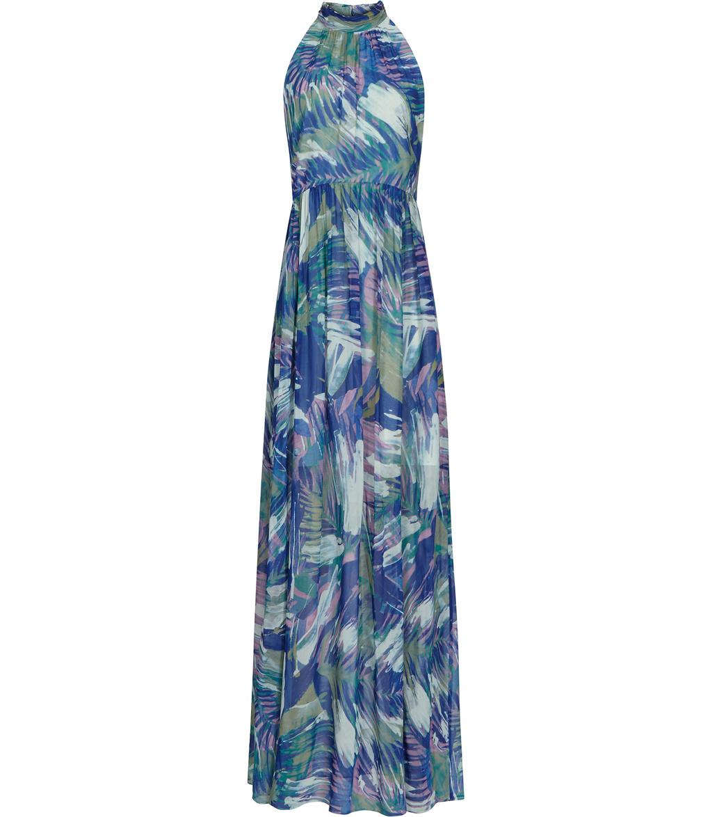 Anise Womens Printed Maxi Dress In Blue - sleeve style: sleeveless; style: maxi dress; neckline: high neck; secondary colour: pale blue; predominant colour: navy; occasions: evening; length: floor length; fit: body skimming; fibres: polyester/polyamide - 100%; sleeve length: sleeveless; texture group: sheer fabrics/chiffon/organza etc.; pattern type: fabric; pattern size: big & busy; pattern: florals; multicoloured: multicoloured; season: s/s 2016; wardrobe: event